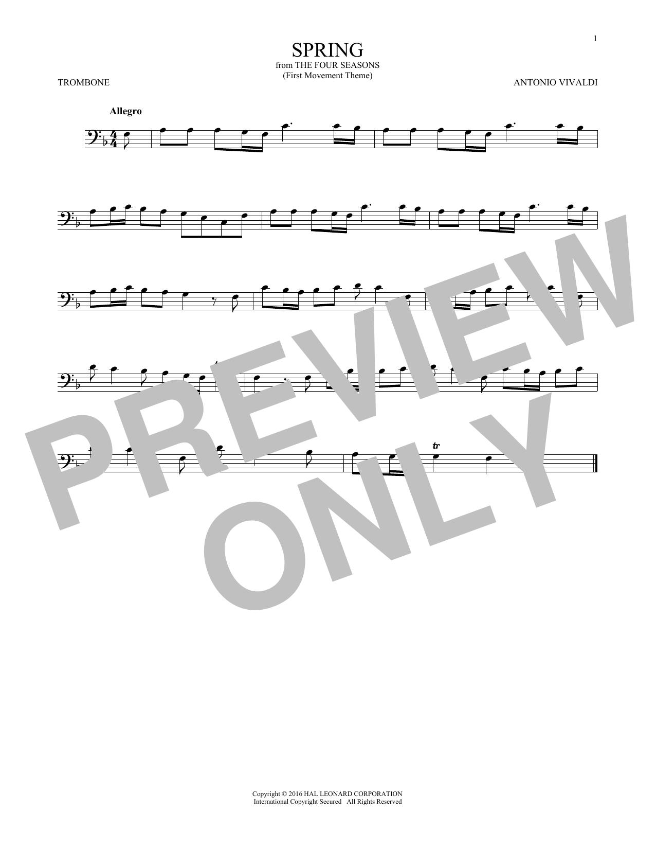 "Allegro I, RV 269 (""Spring"") (First Movement Theme) (Trombone Solo)"