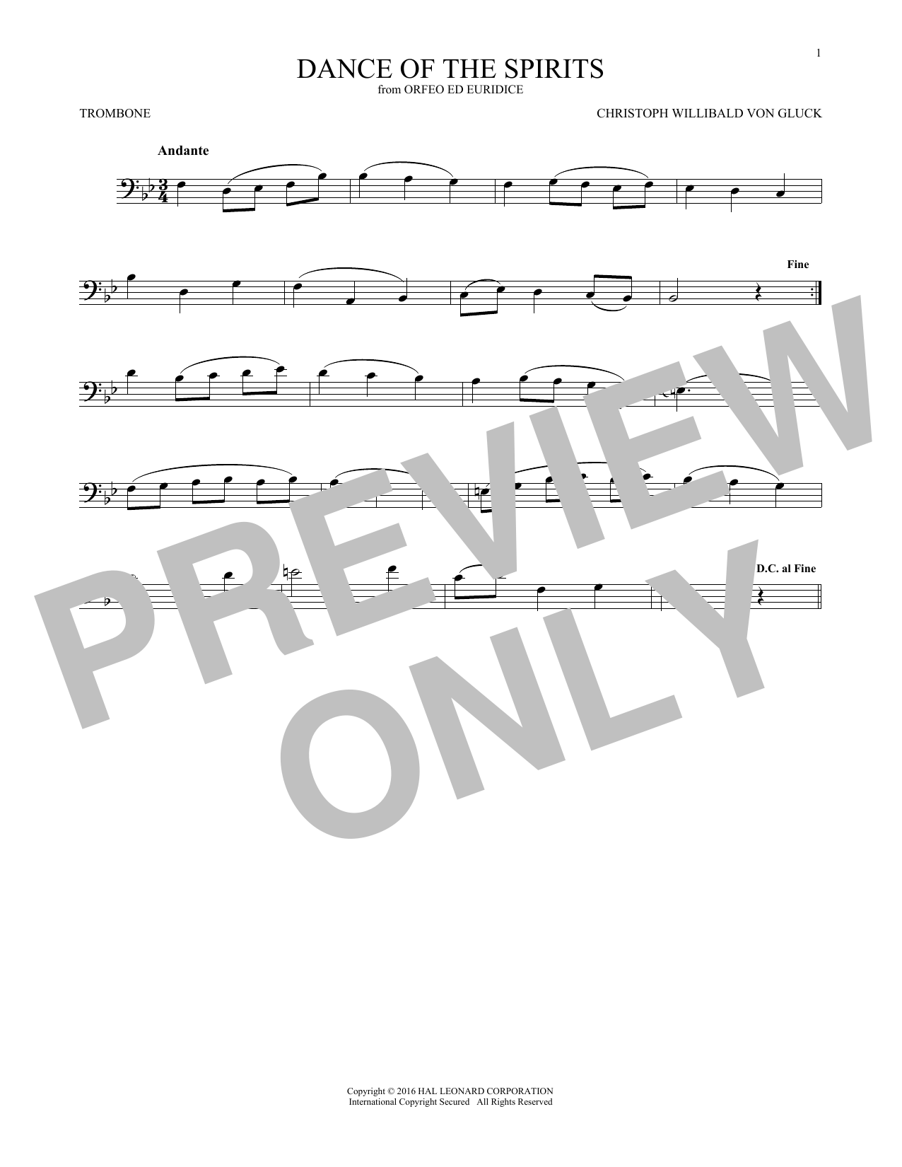 Dance Of The Spirits (Trombone Solo)