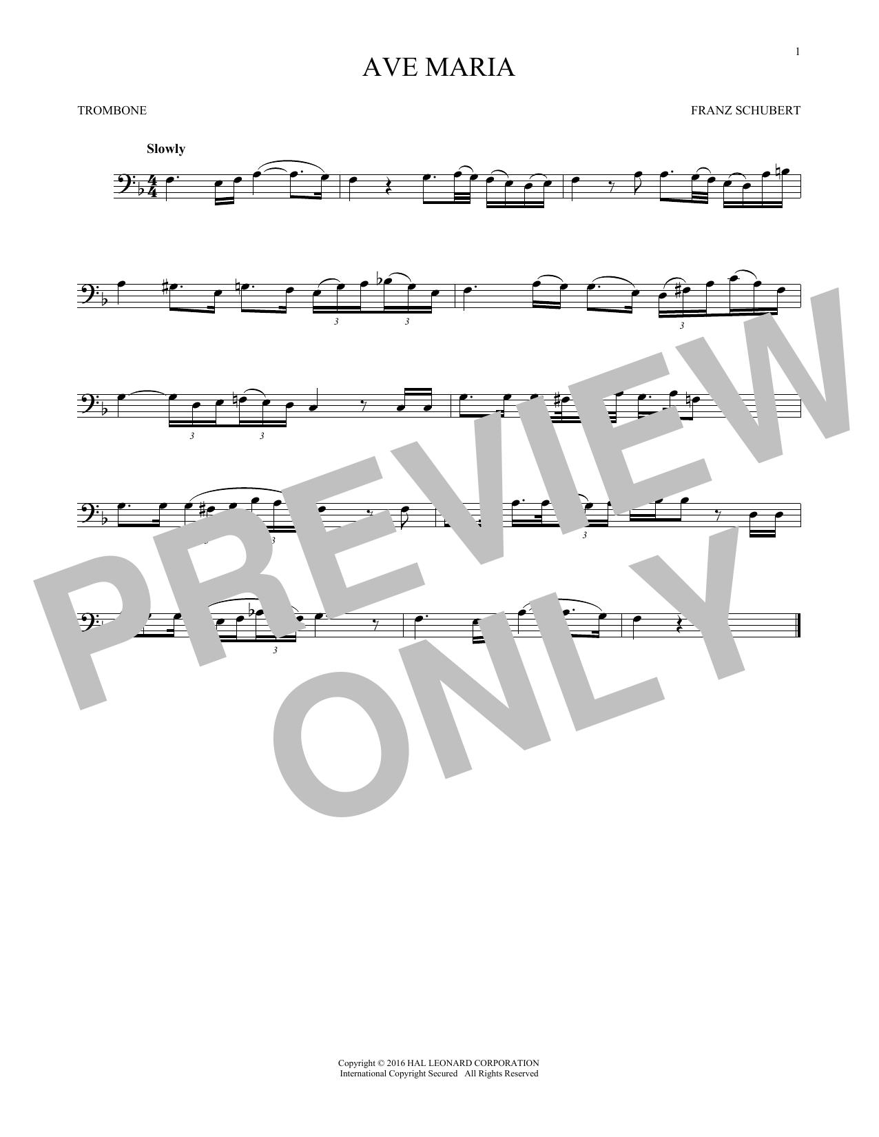 Ave Maria, Op. 52, No. 6 (Trombone Solo)