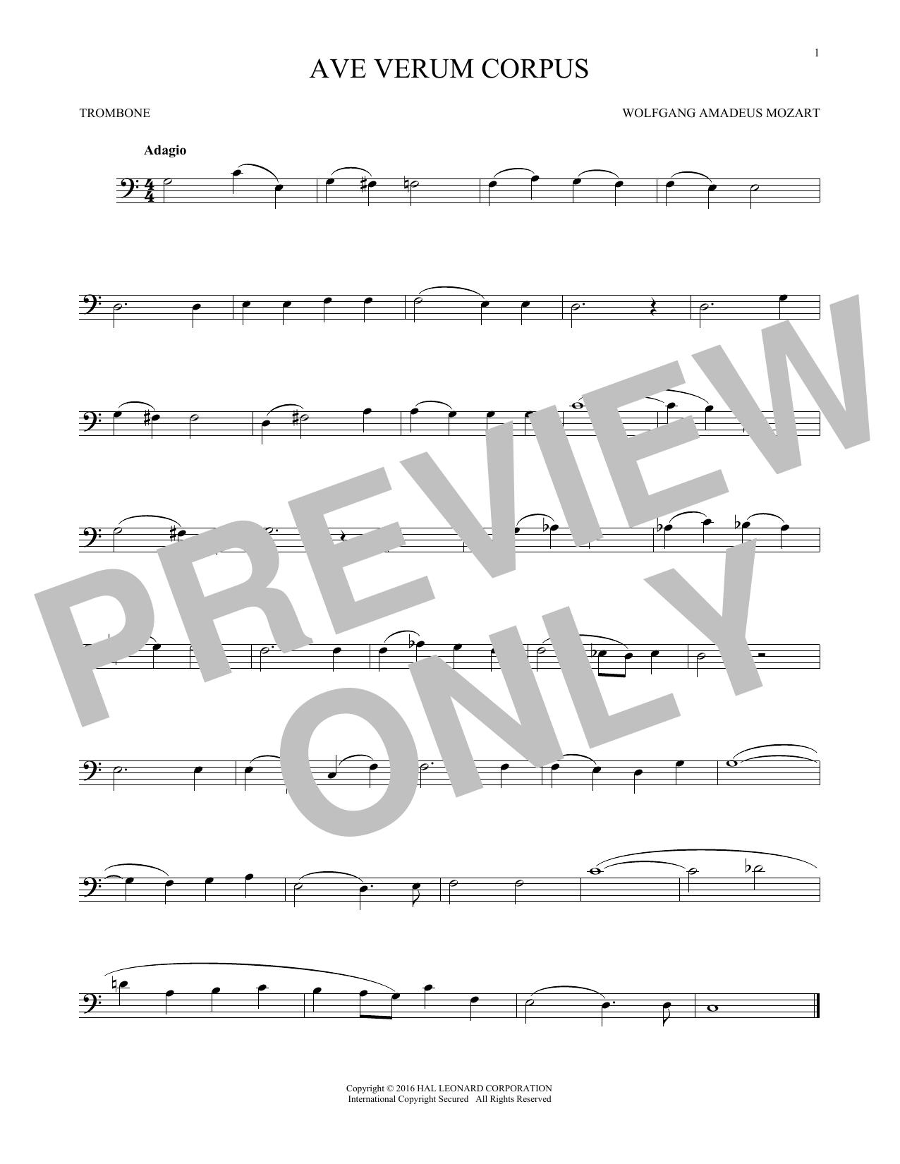 Ave Verum (Jesu, Word Of God Incarnate) (Trombone Solo)