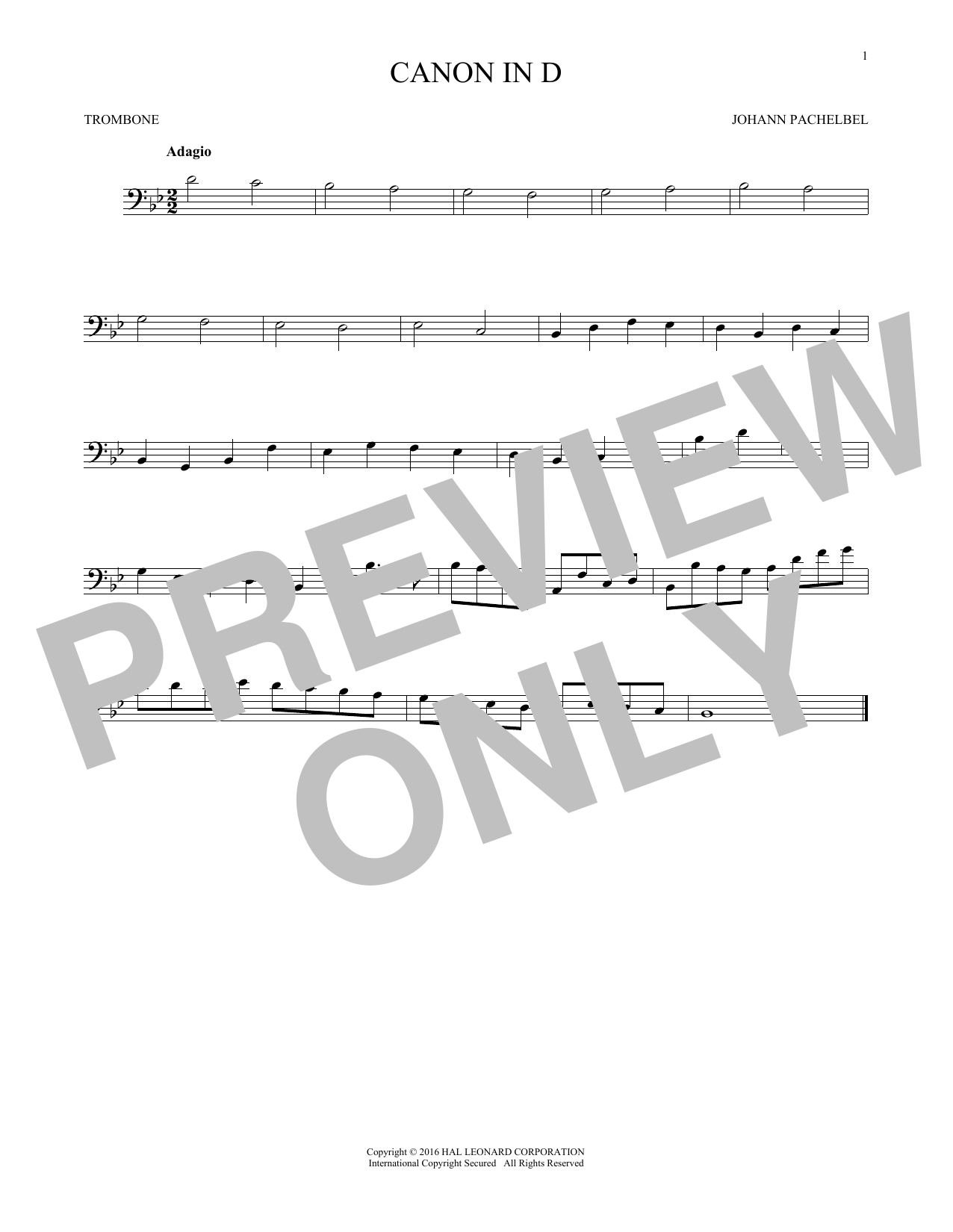 Canon In D (Trombone Solo)