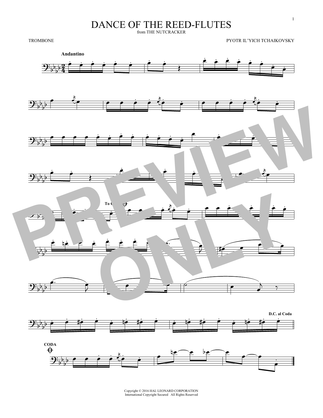 Dance Of The Reed Flutes, Op. 71a (Trombone Solo)