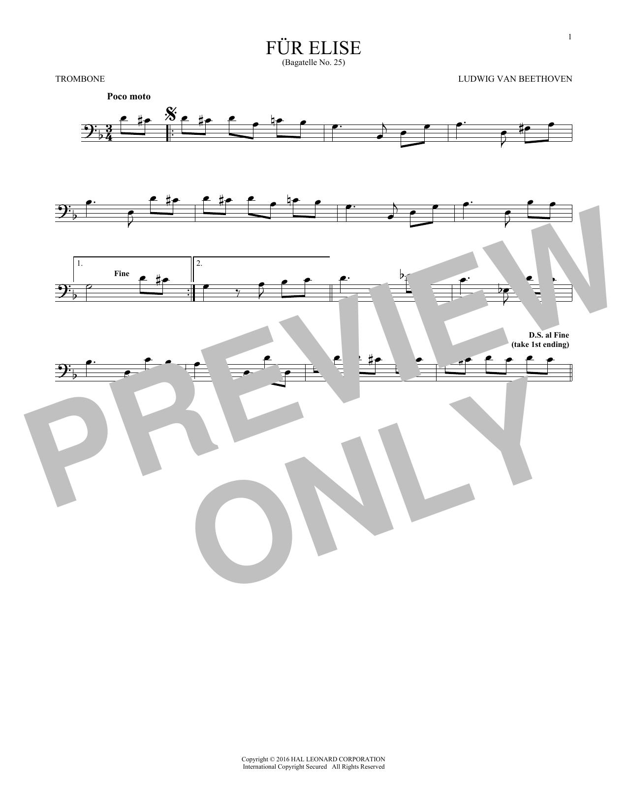 Fur Elise, WoO 59 (Trombone Solo)