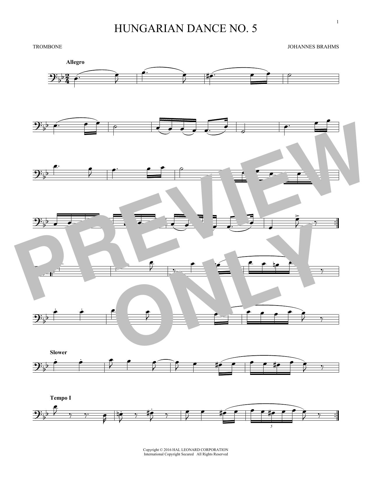 Hungarian Dance No. 5 (Trombone Solo)