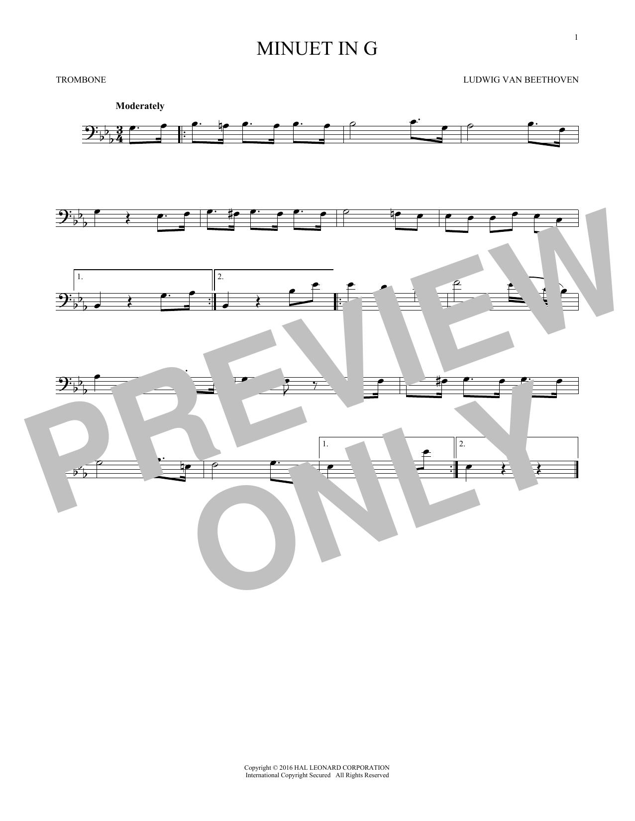 Minuet In G (Trombone Solo)