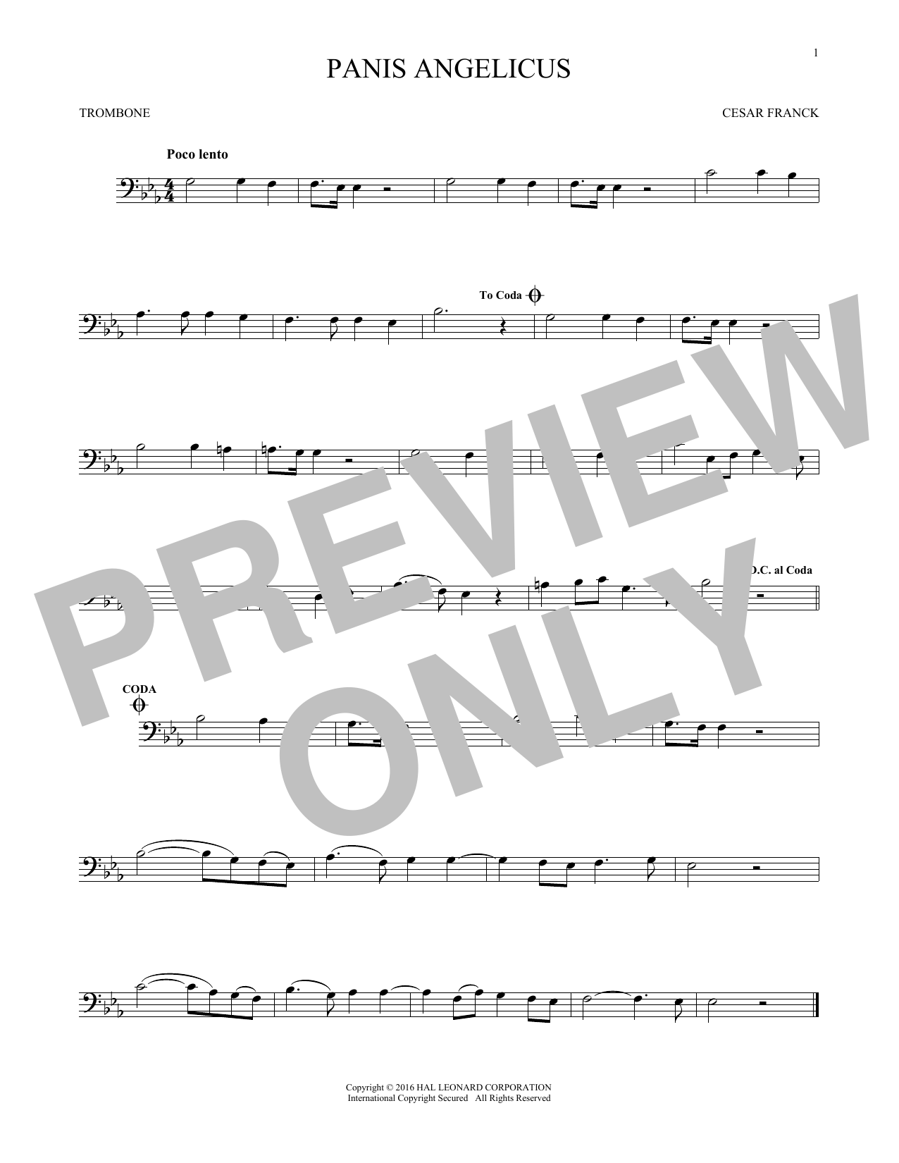 Panis Angelicus (O Lord Most Holy) (Trombone Solo)