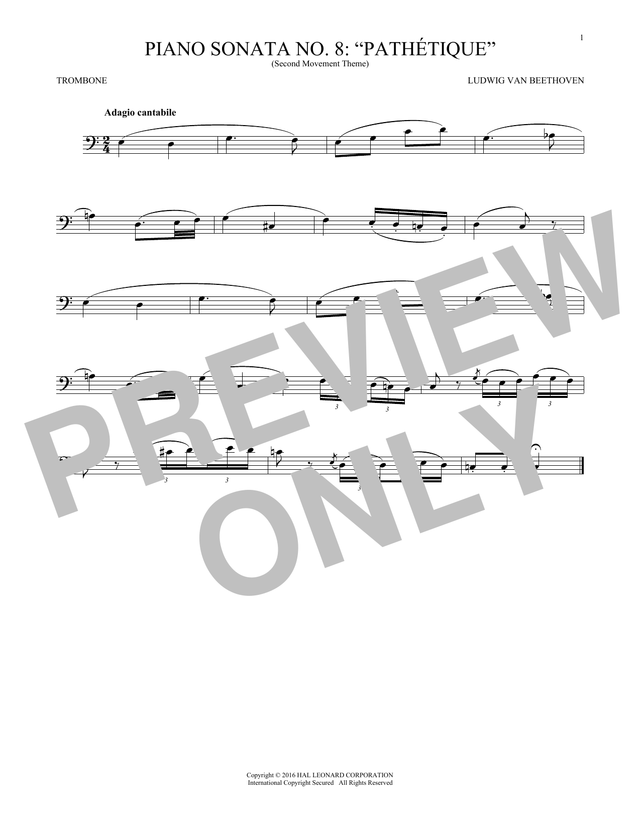 Adagio Cantabile, Op. 13 (Trombone Solo)