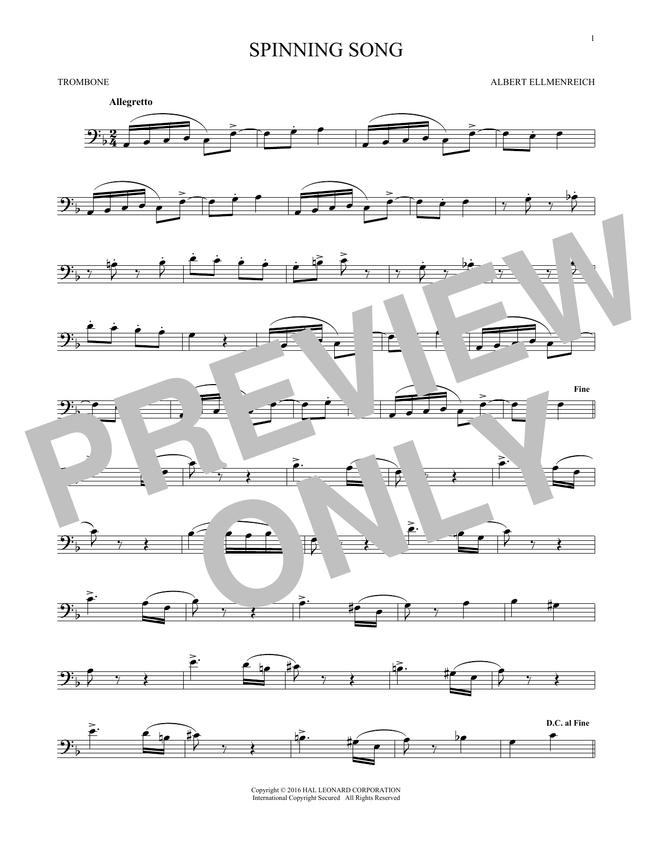 Spinning Song (Trombone Solo)