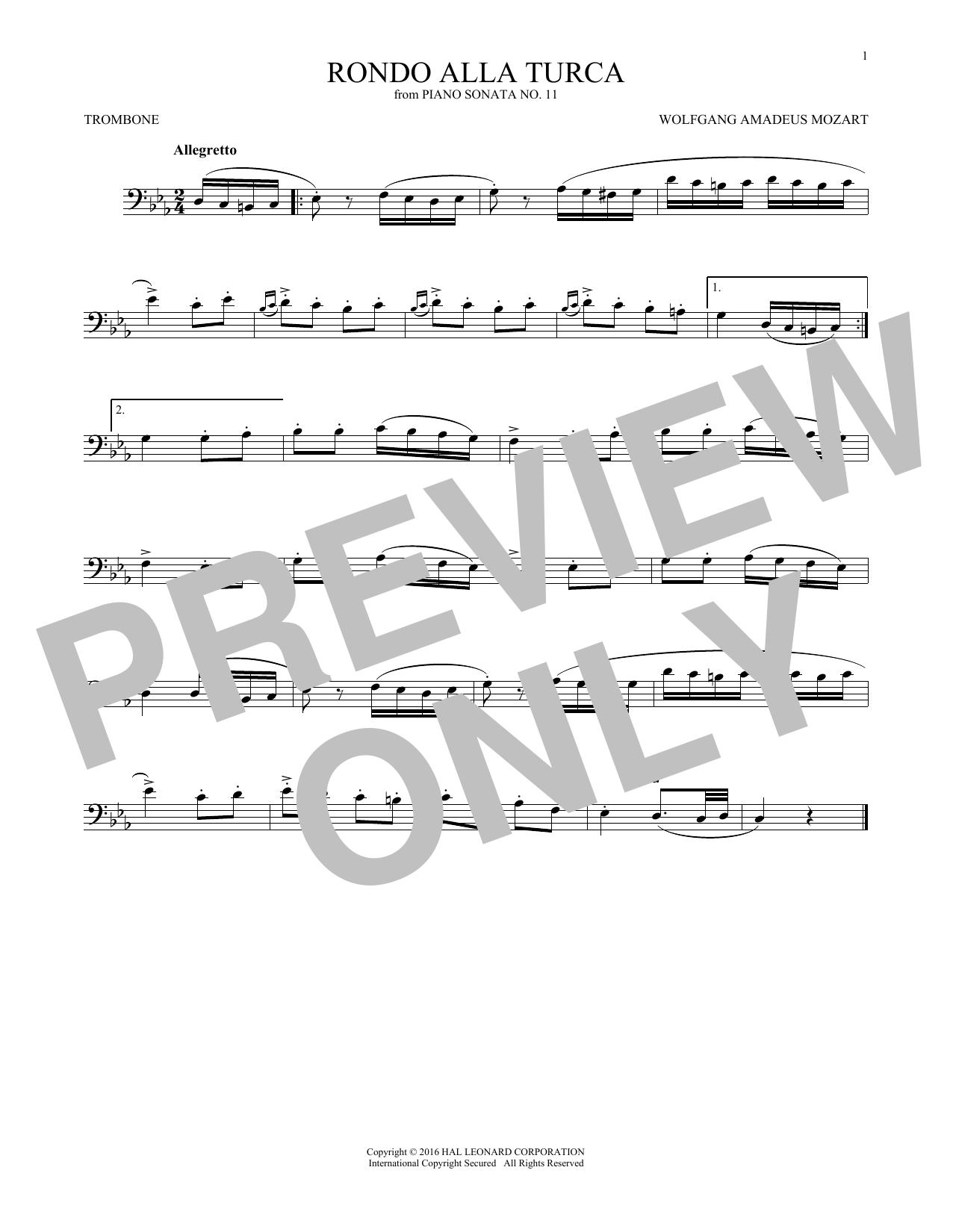 Rondo Alla Turca (Trombone Solo)