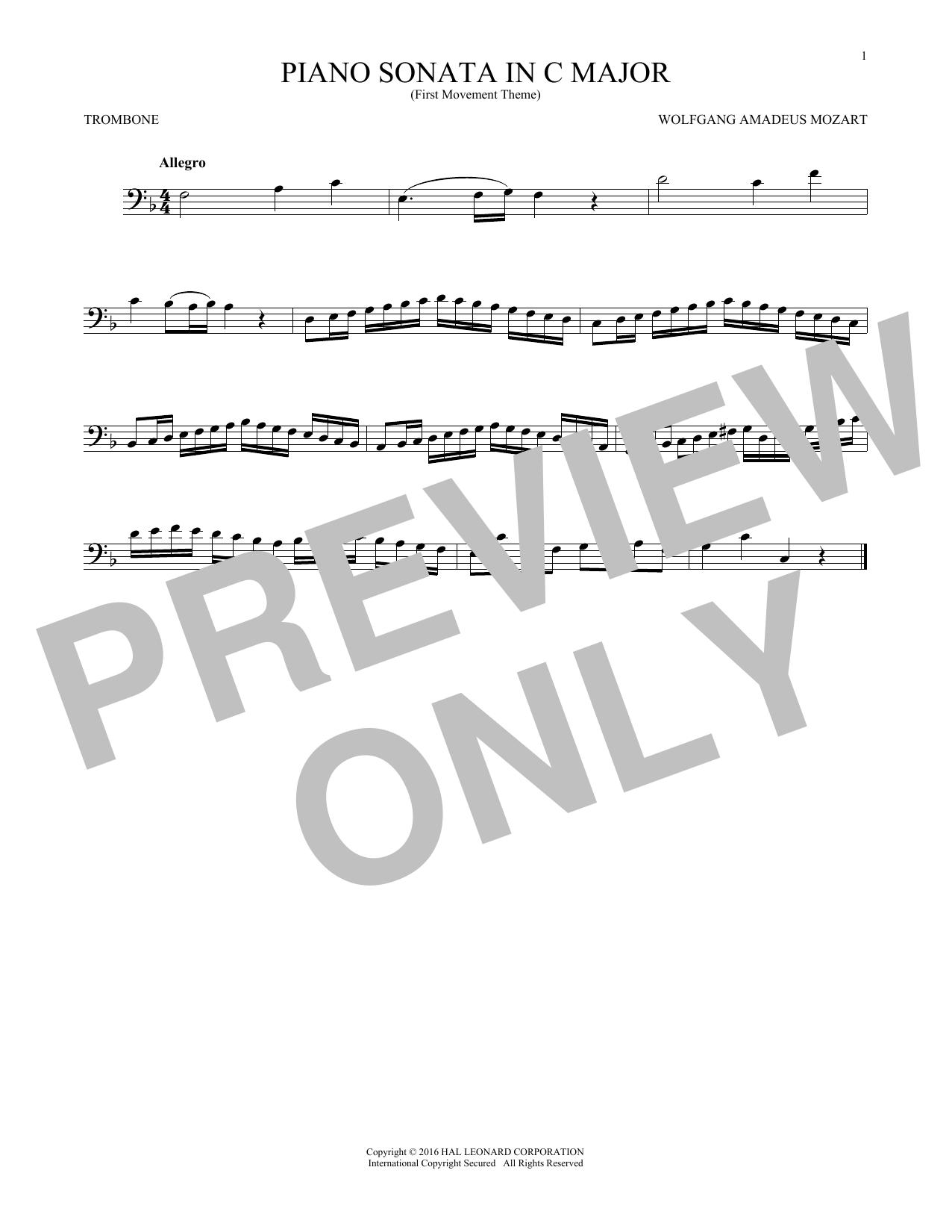 Piano Sonata In C Major (Trombone Solo)
