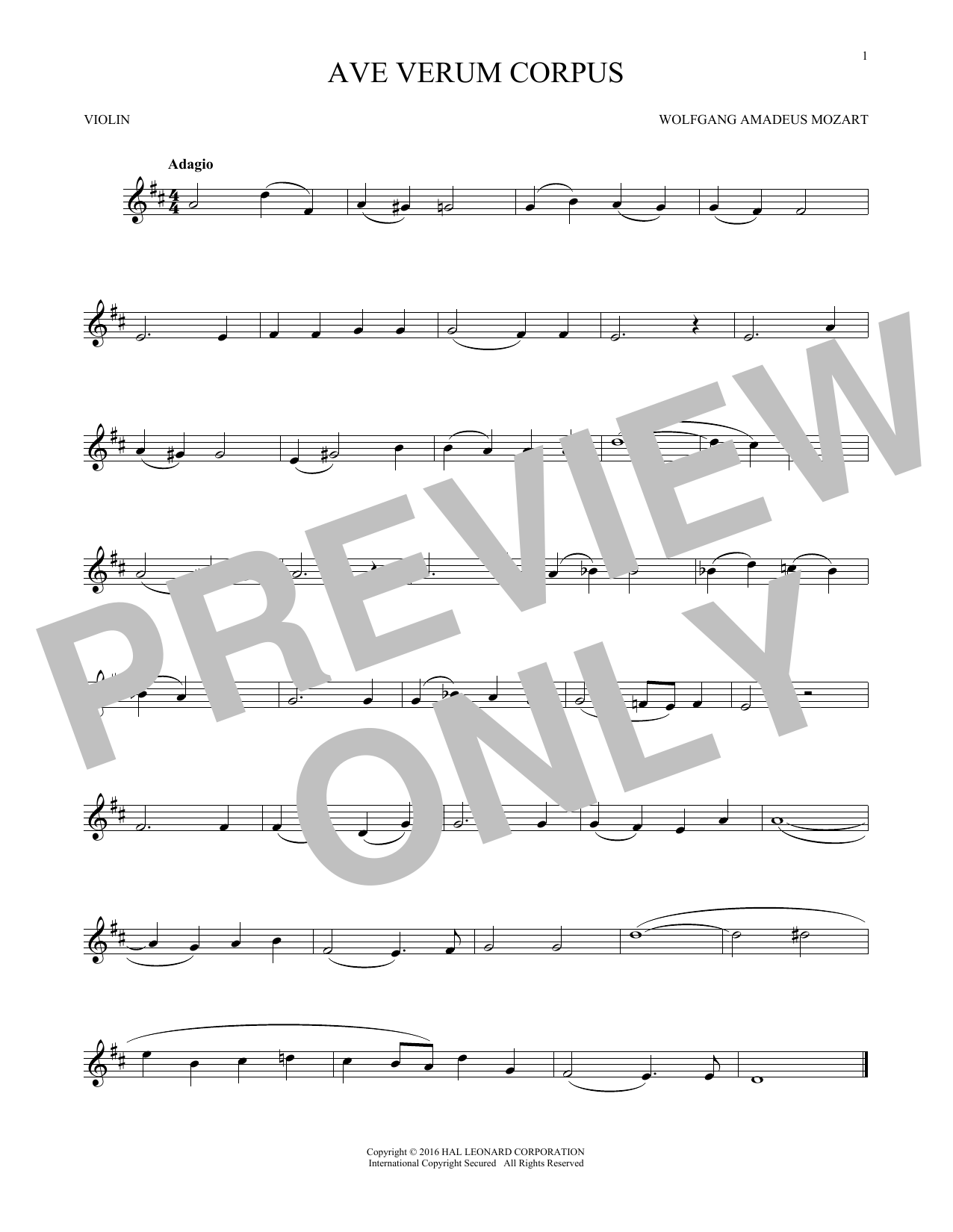 Ave Verum (Jesu, Word Of God Incarnate) (Violin Solo)