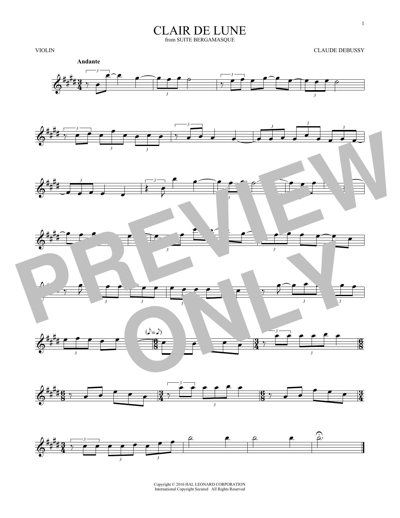 Clair De Lune (Violin Solo)