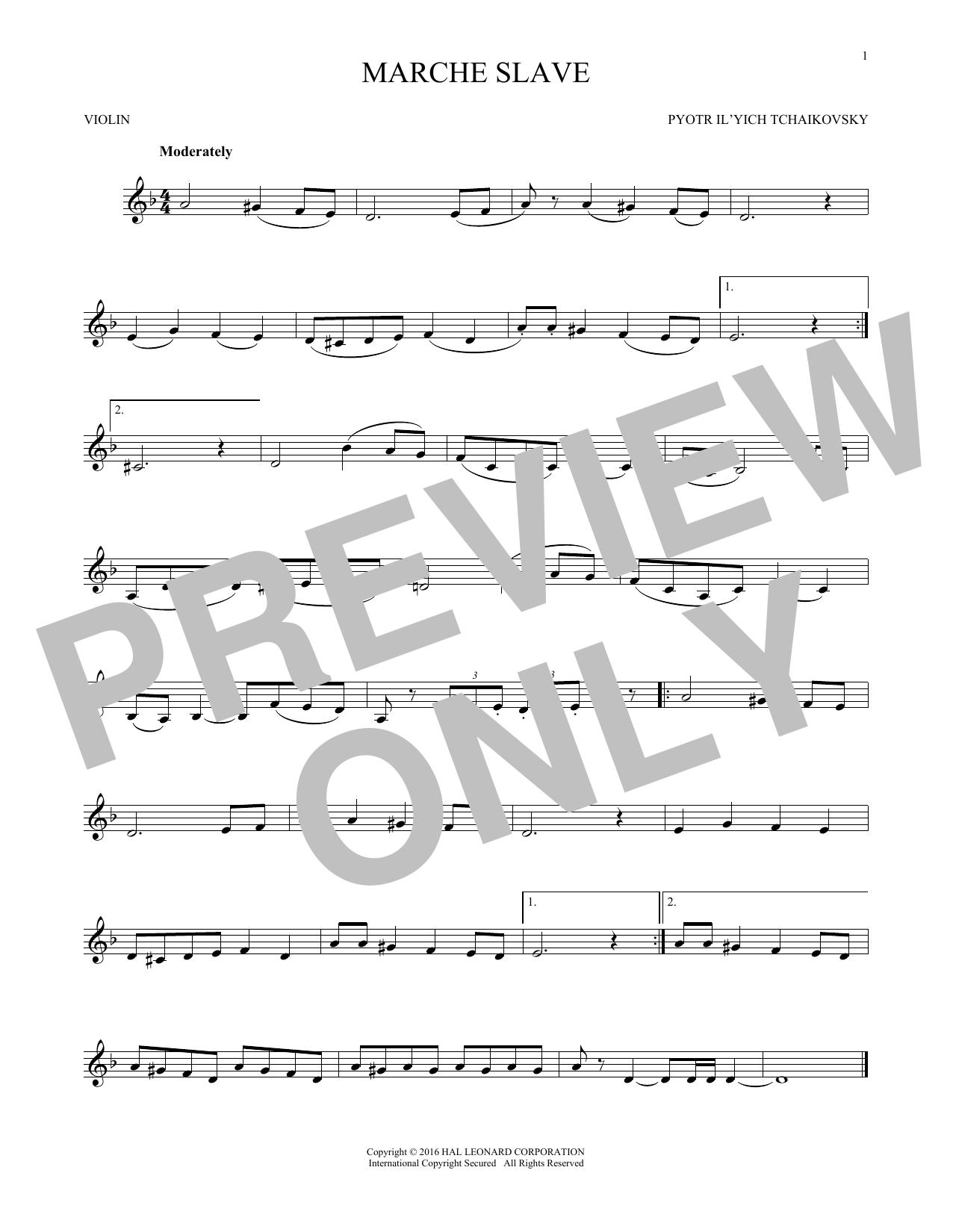 Marche Slav, Op. 31 (Violin Solo)
