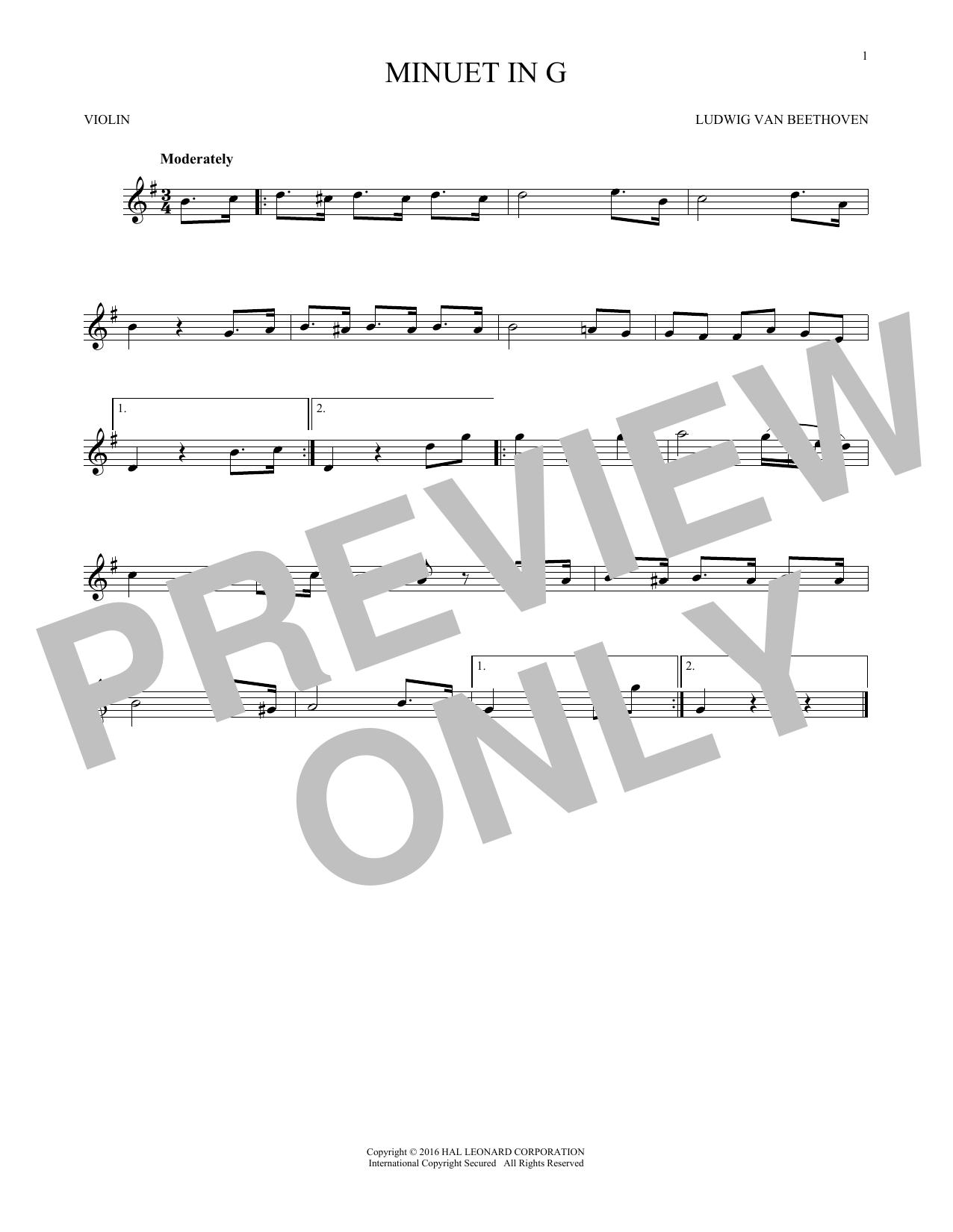 Minuet In G (Violin Solo)