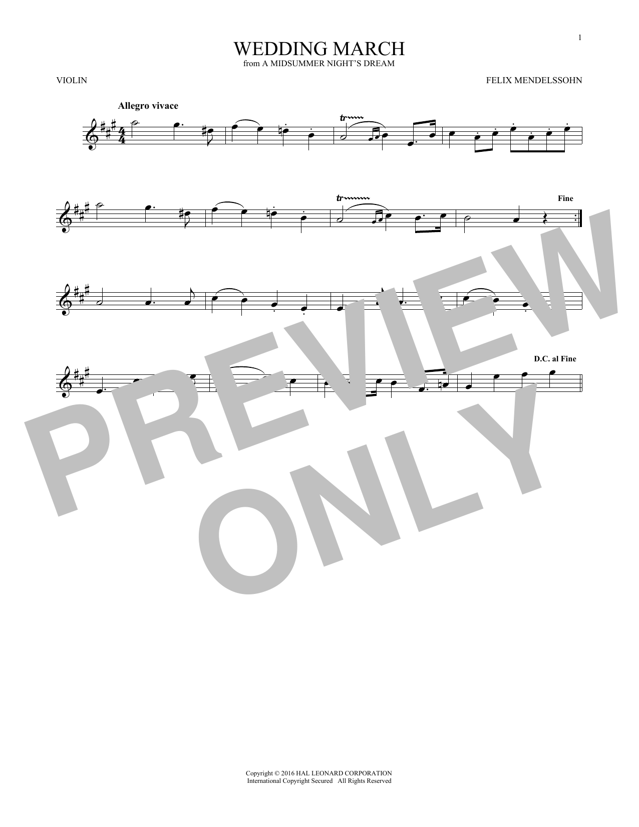 Wedding March (Violin Solo)