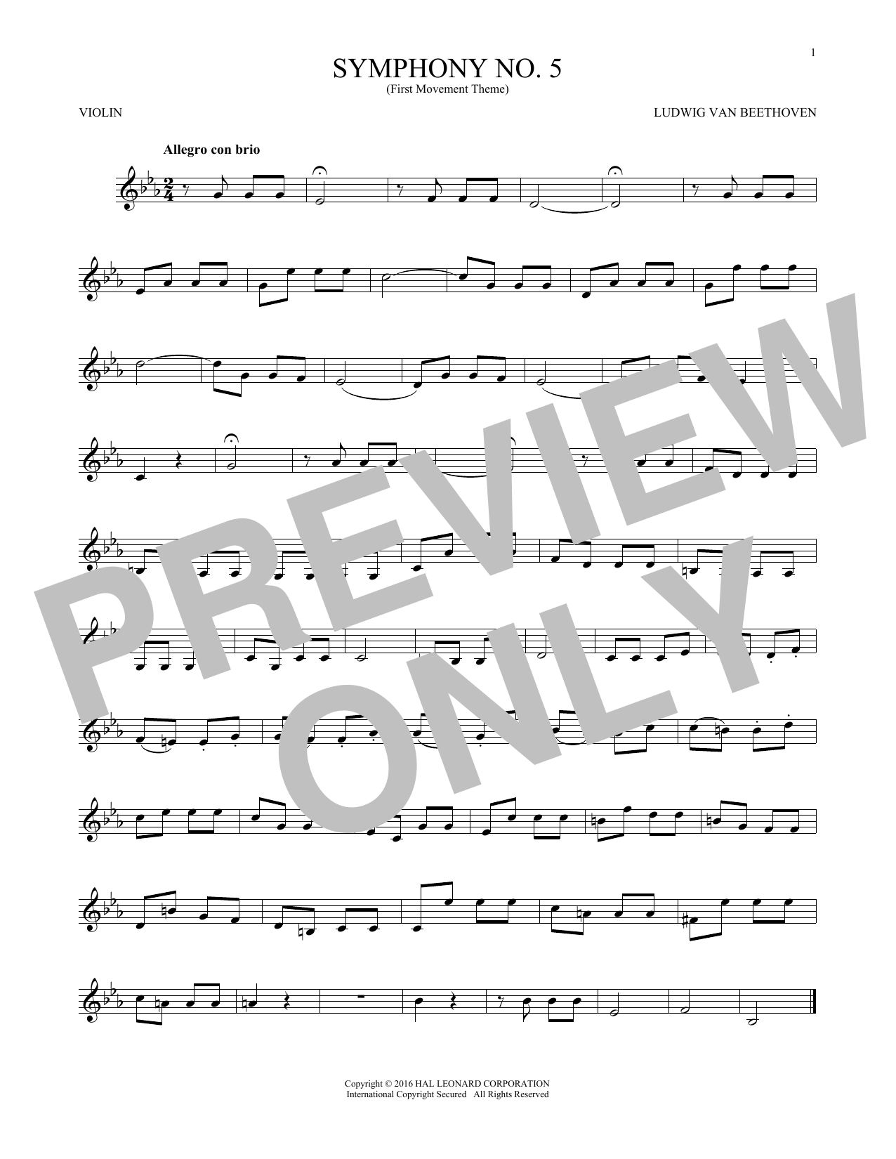 Symphony No. 5 In C Minor, First Movement Excerpt (Violin Solo)