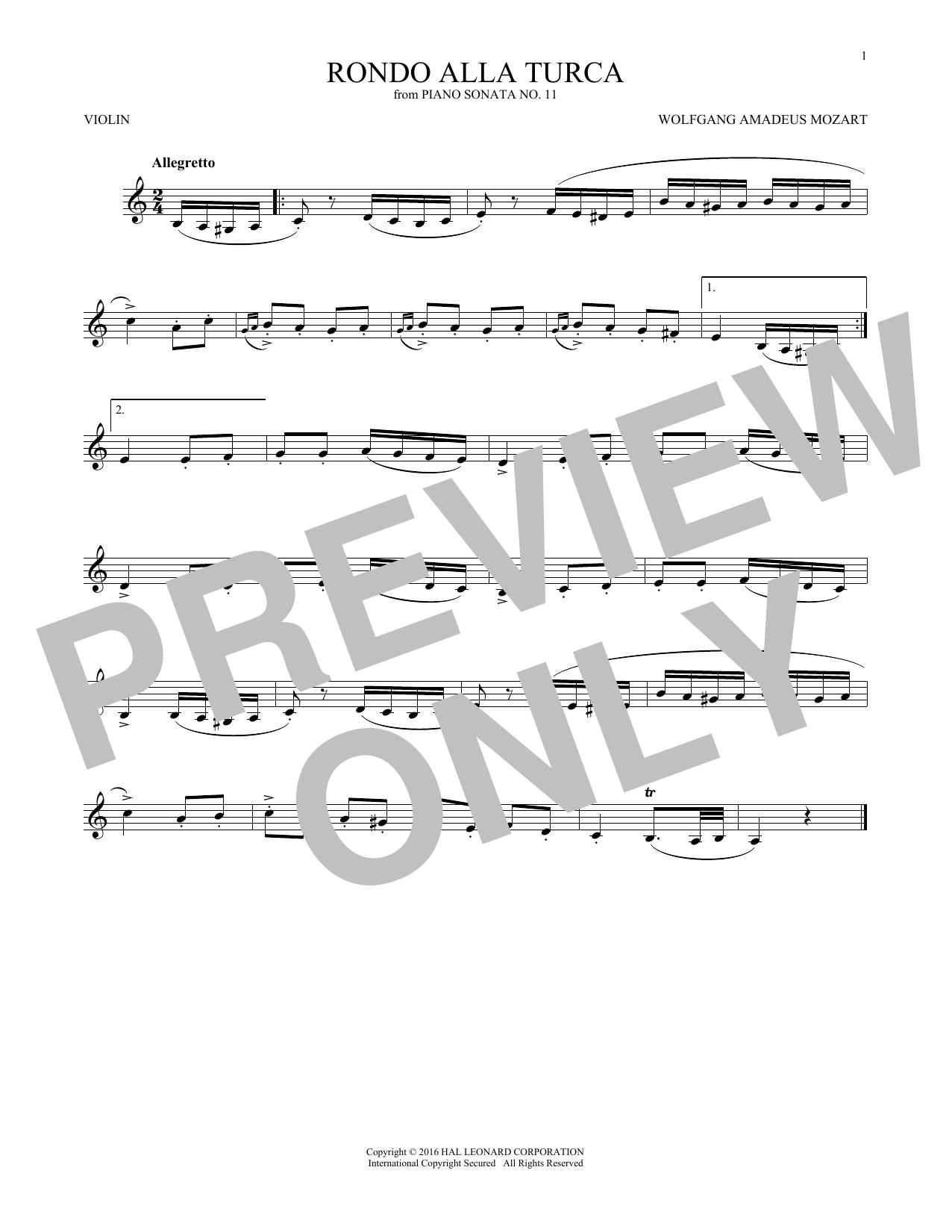 Rondo Alla Turca (Violin Solo)