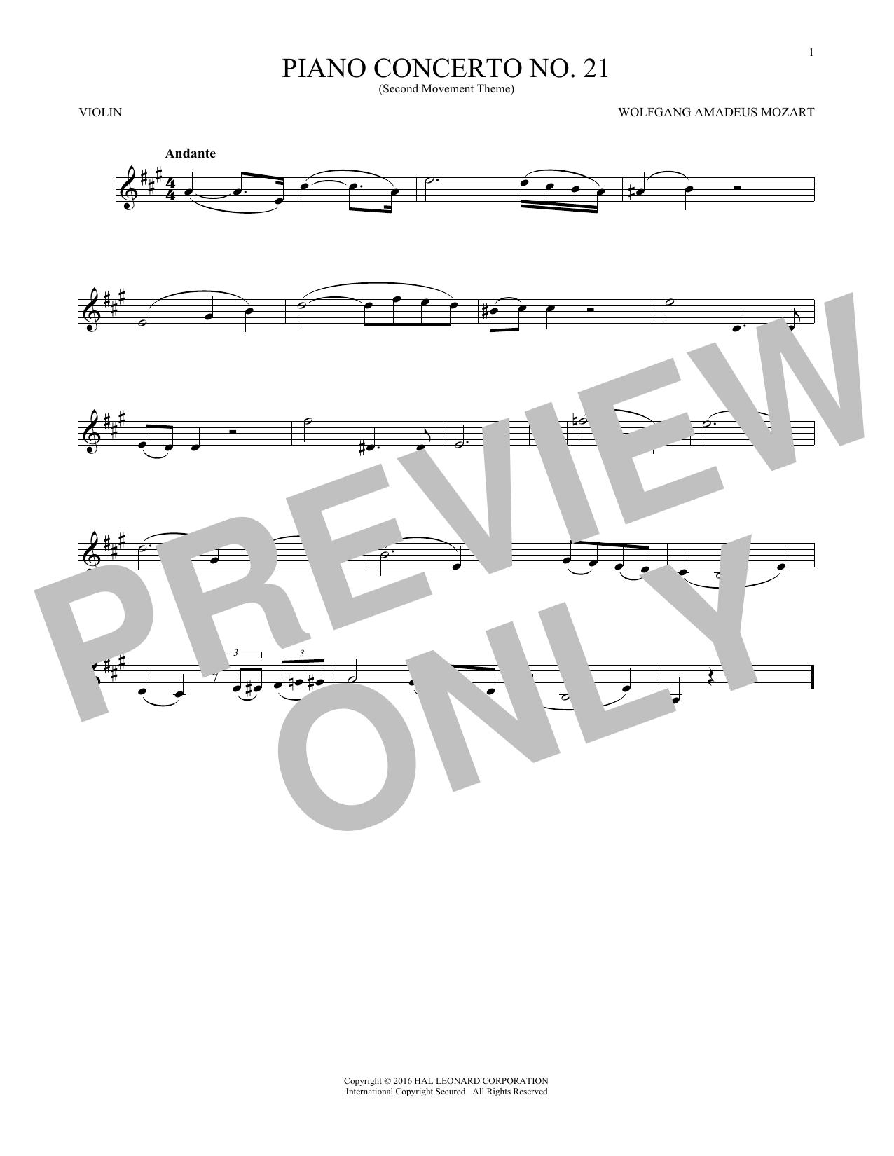"""Piano Concerto No. 21 In C Major (""""Elvira Madigan""""), Second Movement Excerpt (Violin Solo)"""
