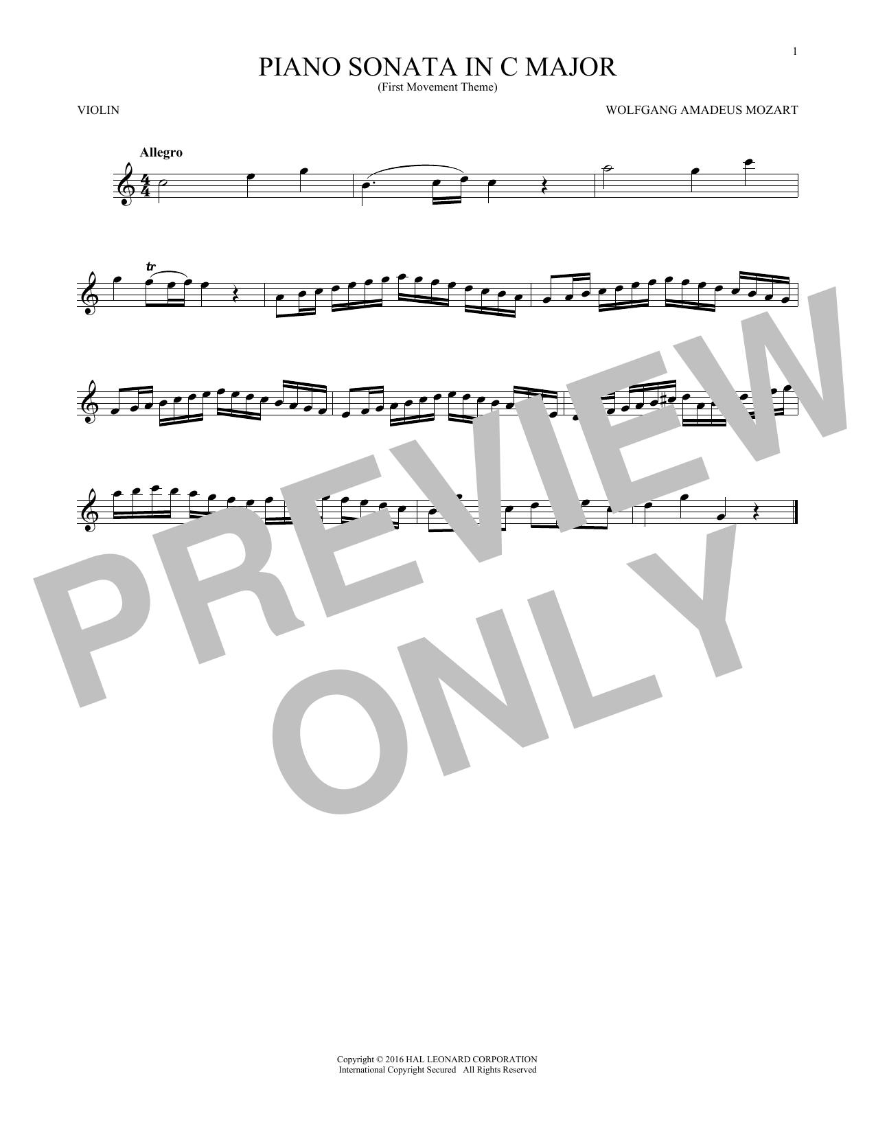 Piano Sonata In C Major (Violin Solo)
