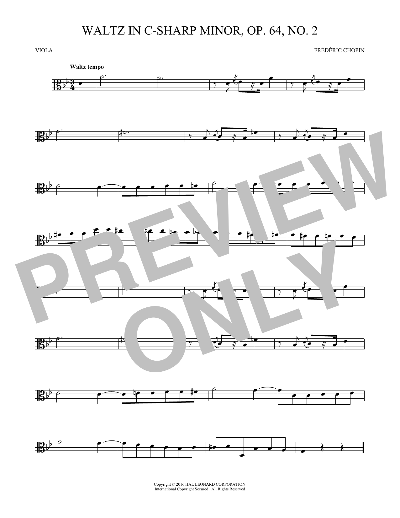 Waltz In C-Sharp Minor, Op. 64, No. 2 (Viola Solo)