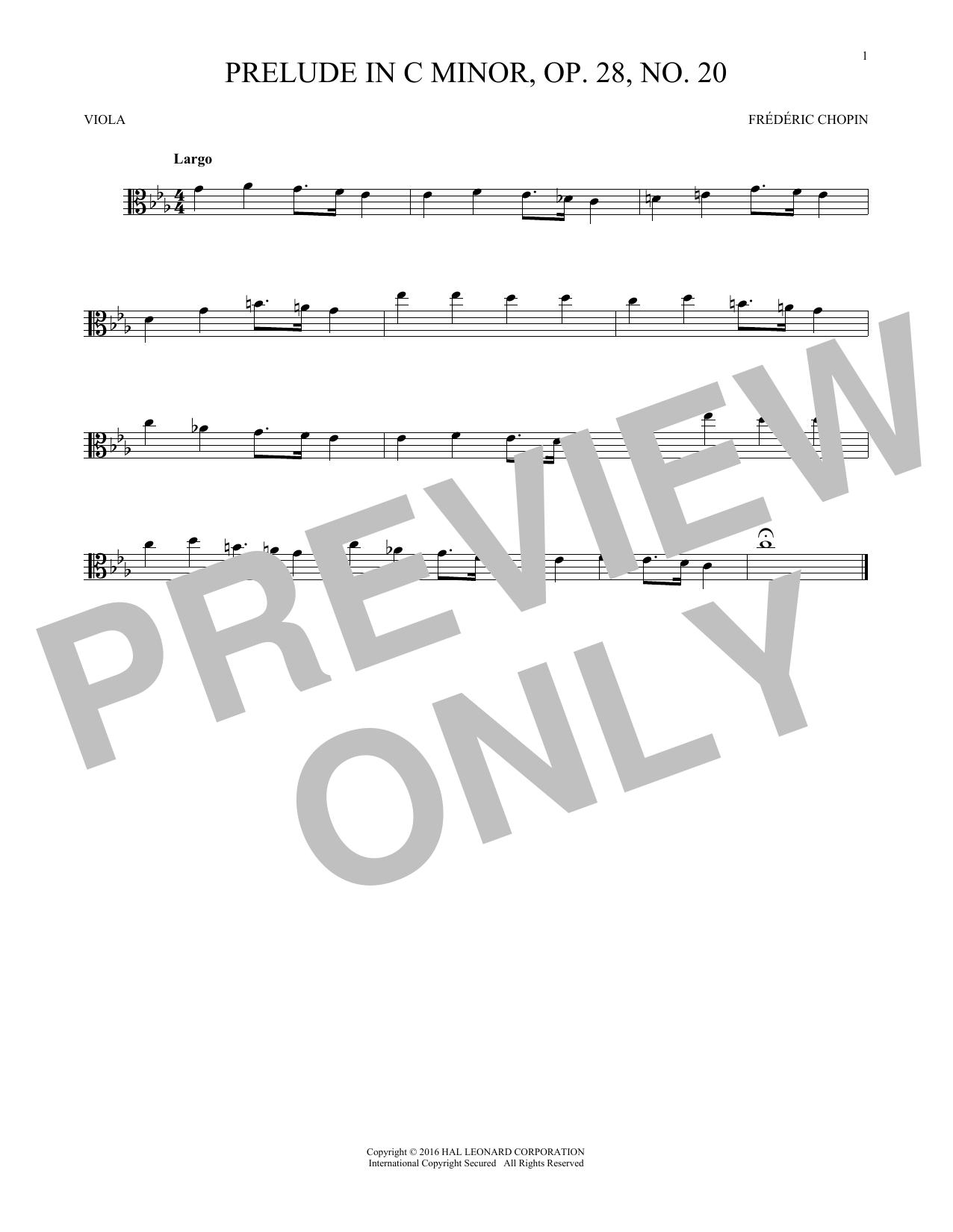 Prelude, Op. 28, No. 20 (Viola Solo)