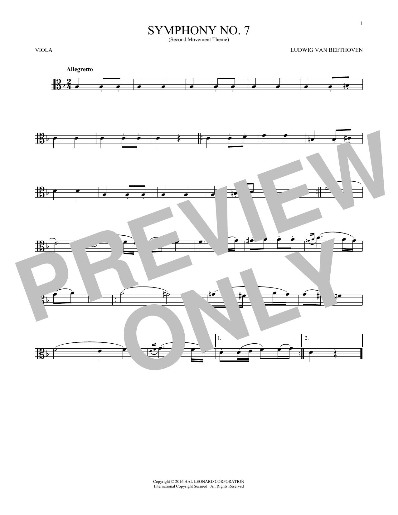 Symphony No. 7 In A Major, Second Movement (Allegretto) (Viola Solo)