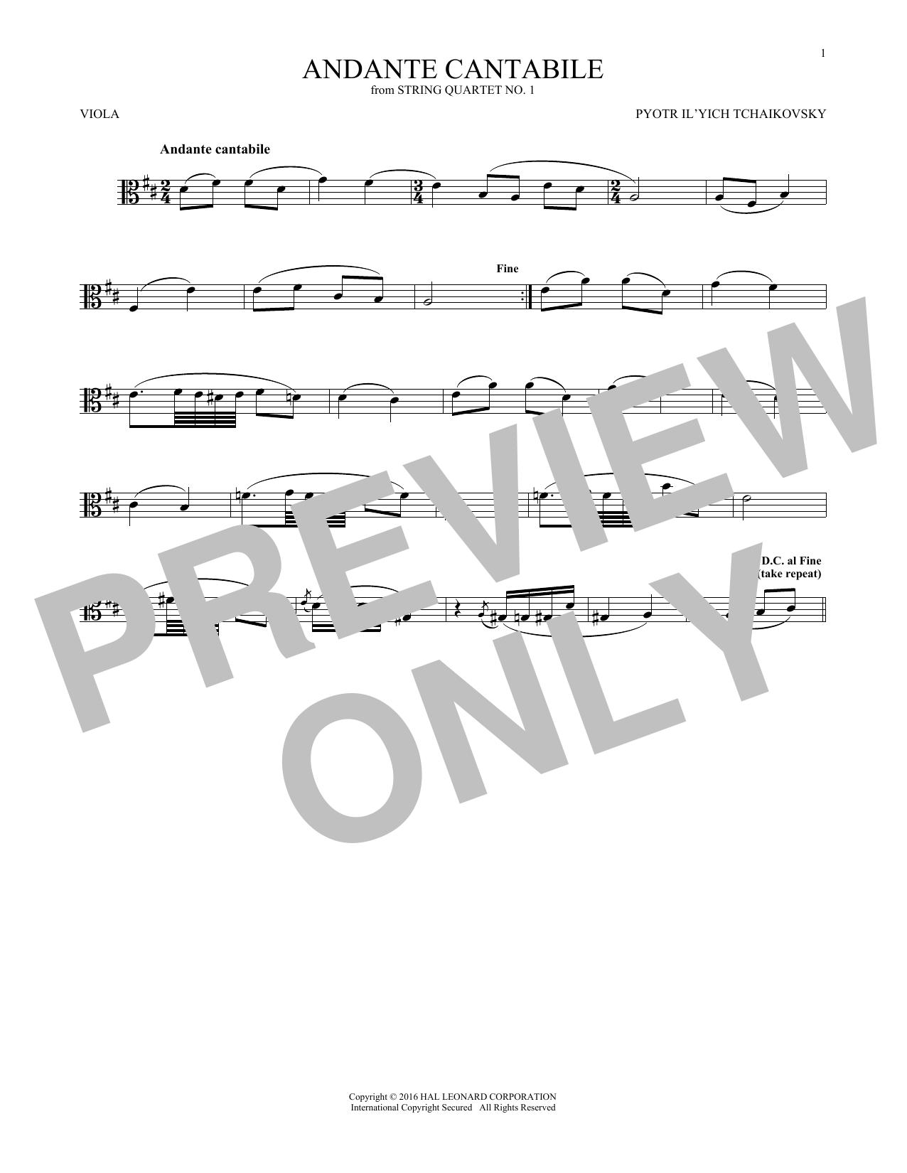 Andante Cantabile (Viola Solo)
