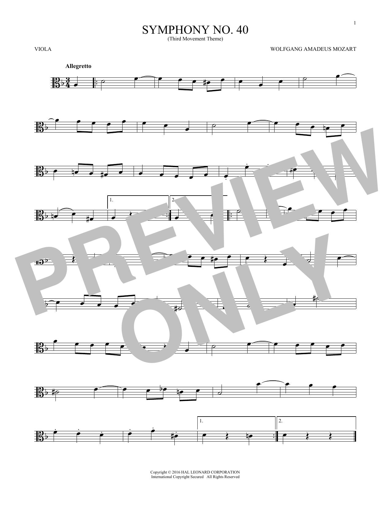 "Symphony No. 40 In G Minor, Third Movement (""Minuet"") (Viola Solo)"