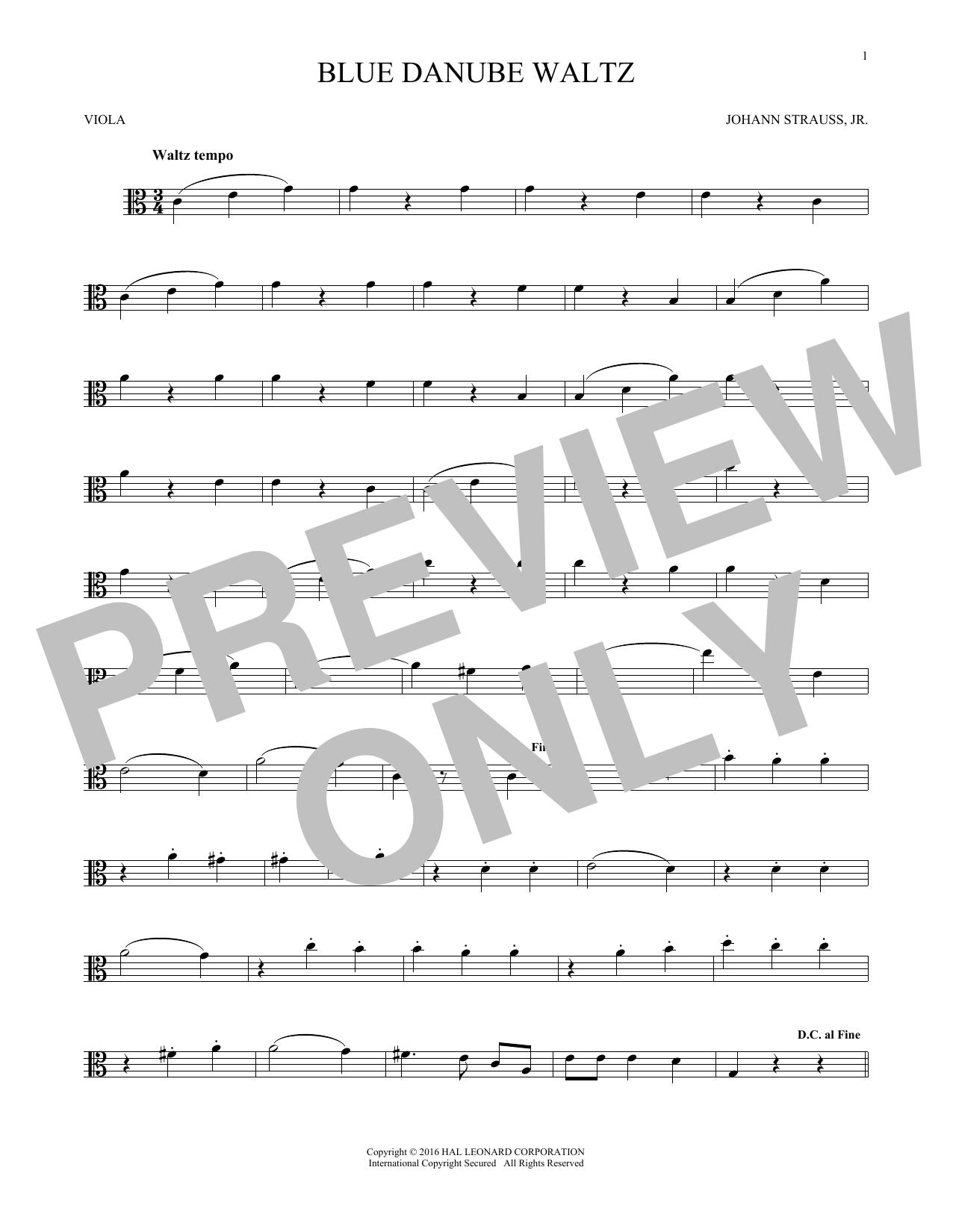 Blue Danube Waltz (Viola Solo)