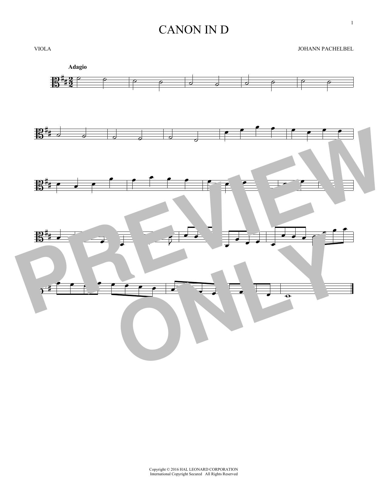 Canon In D (Viola Solo)