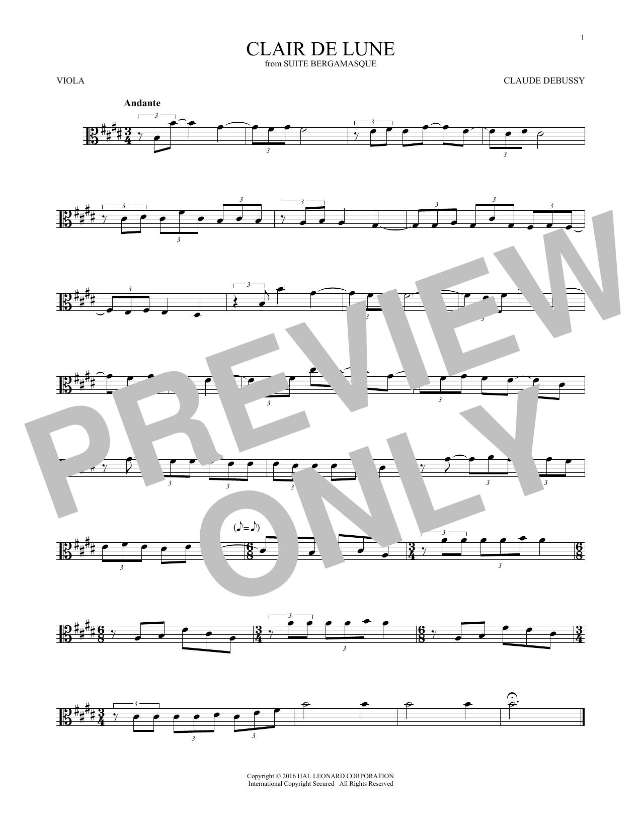 Clair De Lune (Viola Solo)