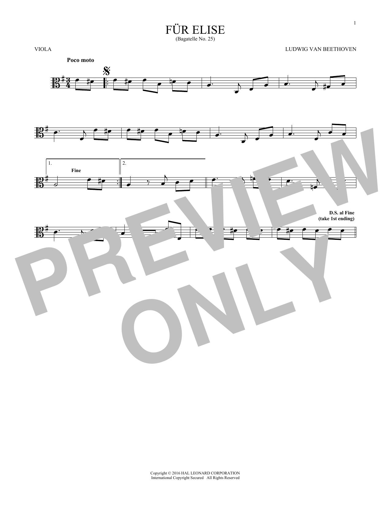 Fur Elise, WoO 59 (Viola Solo)