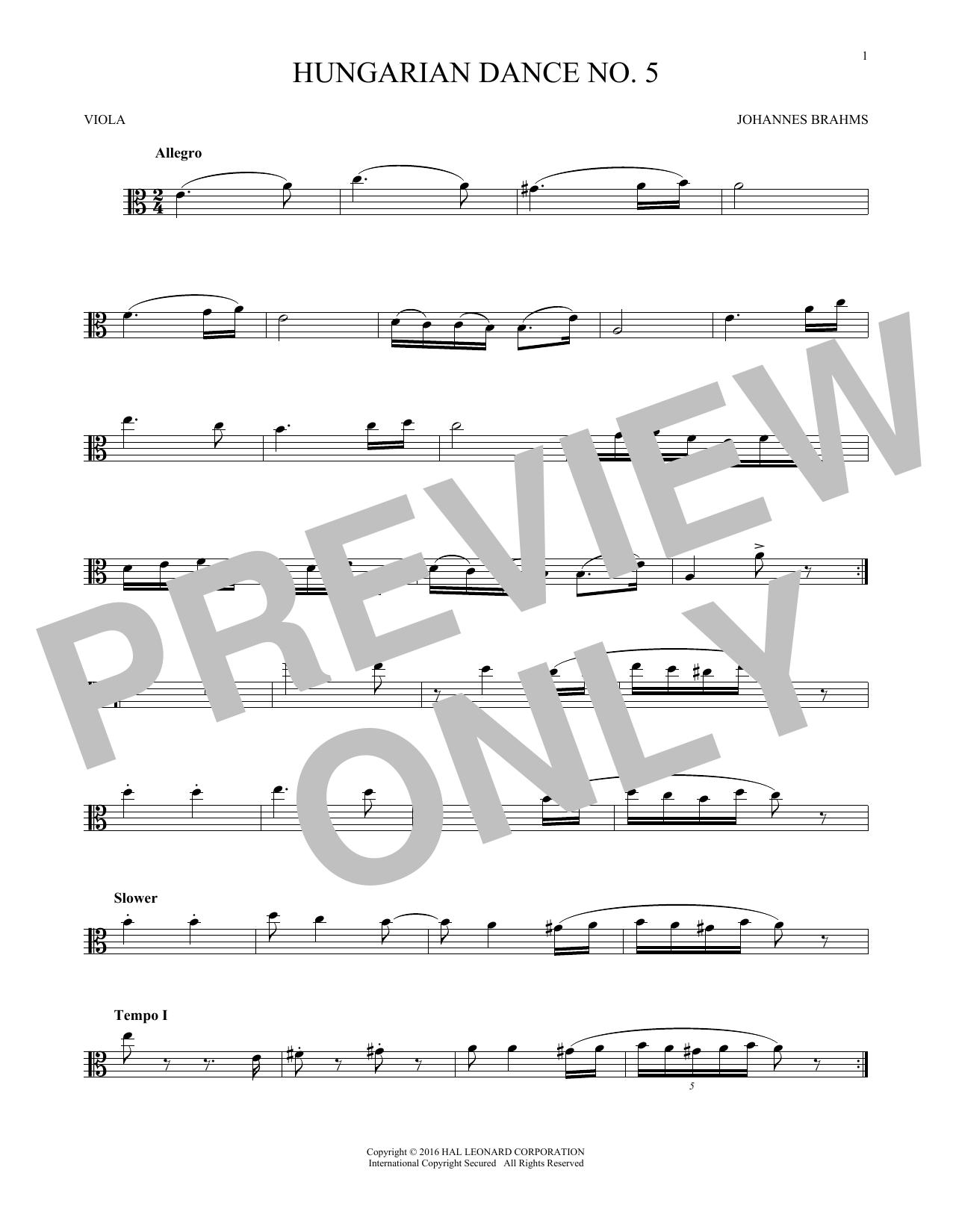 Hungarian Dance No. 5 (Viola Solo)