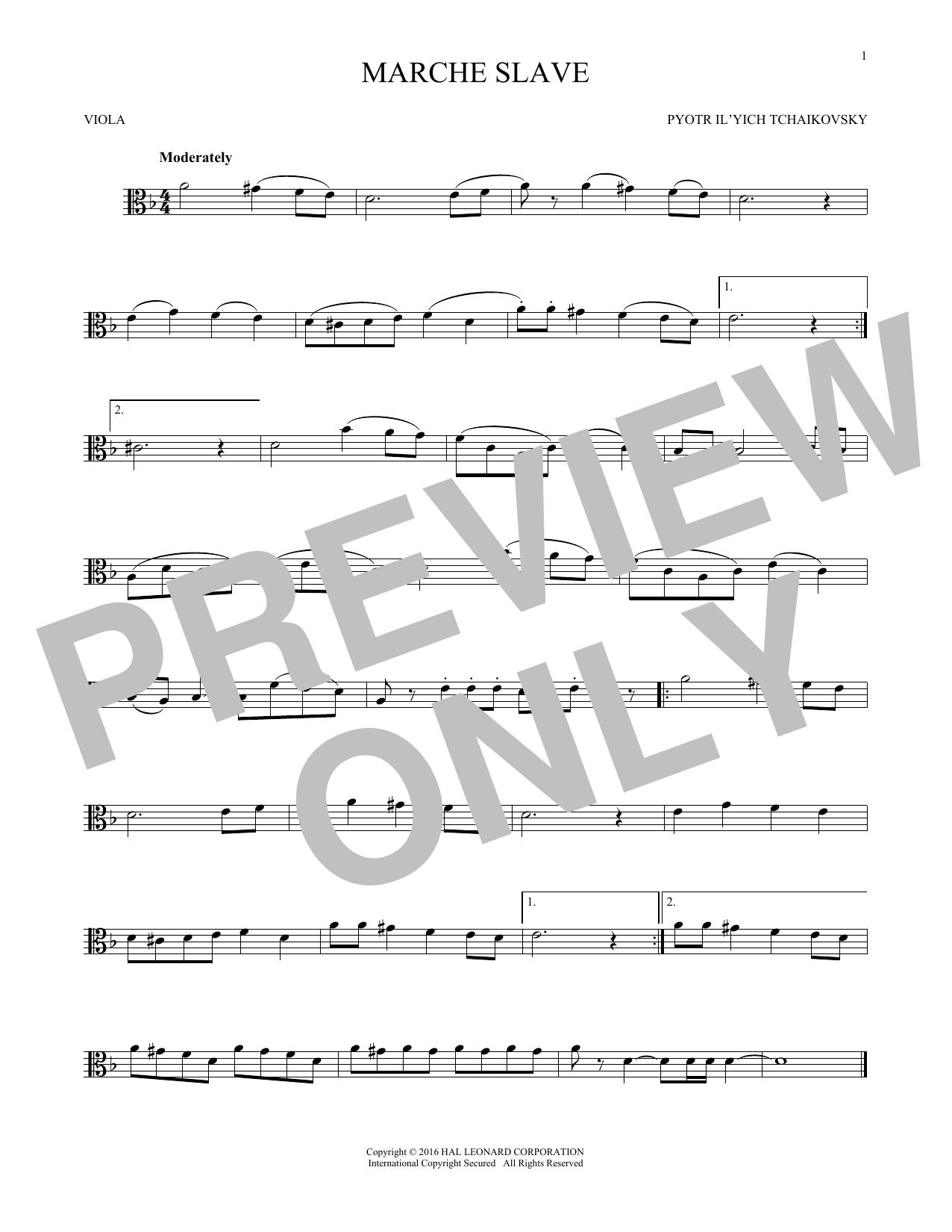 Marche Slav, Op. 31 (Viola Solo)