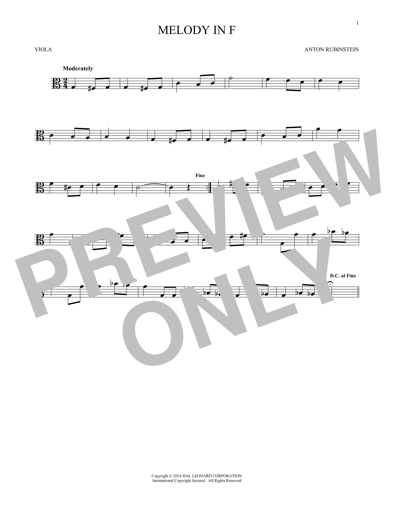Melody In F (Viola Solo)