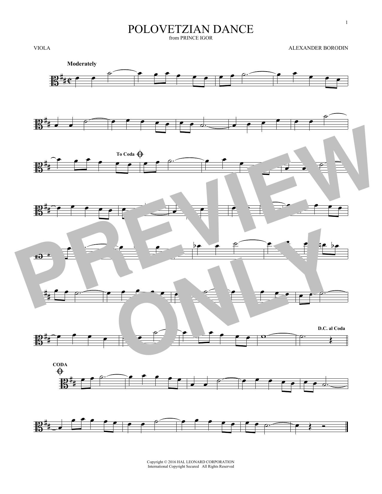 Polovetsian Dances (Viola Solo)