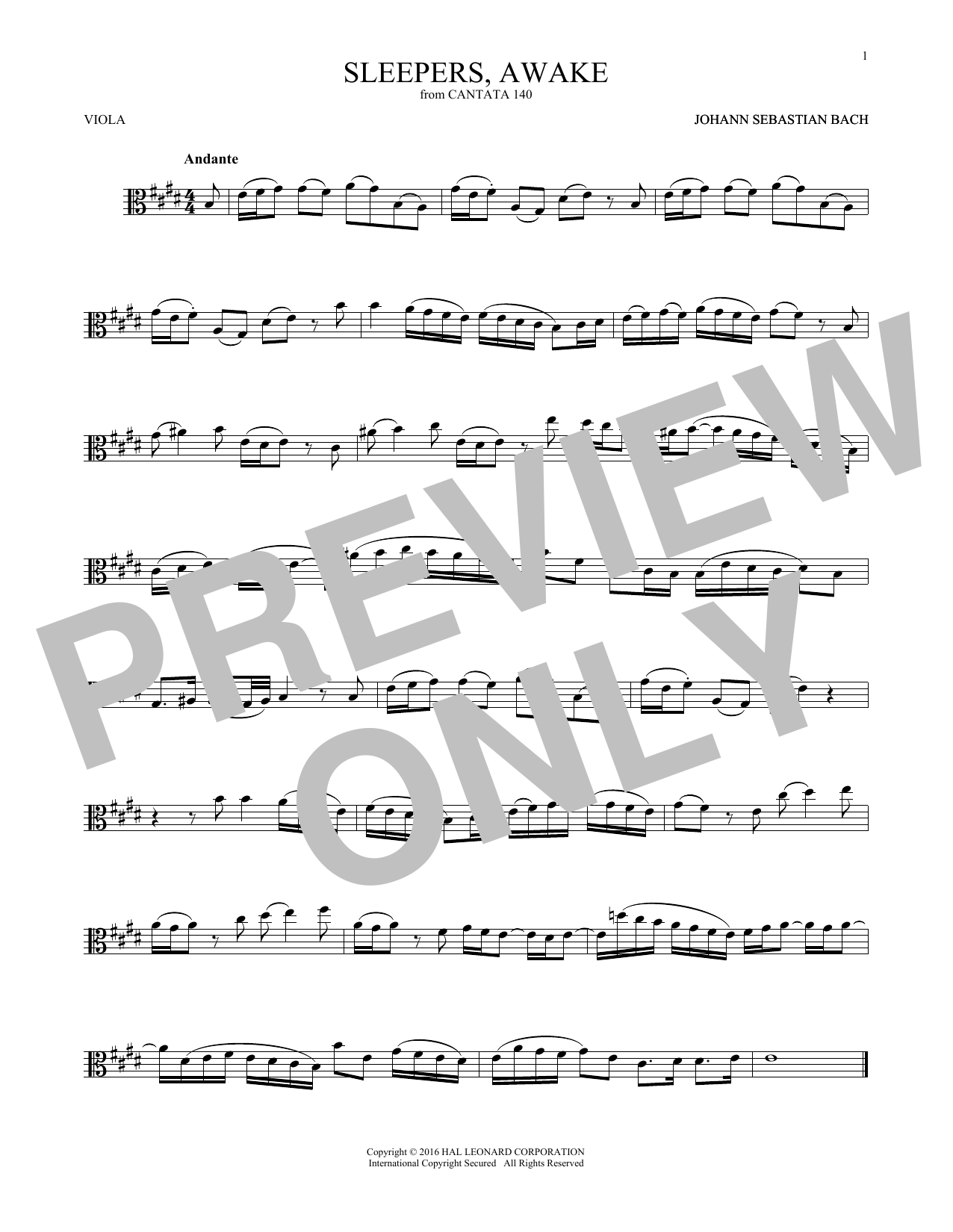 Sleepers, Awake (Wachet Auf) (Viola Solo)
