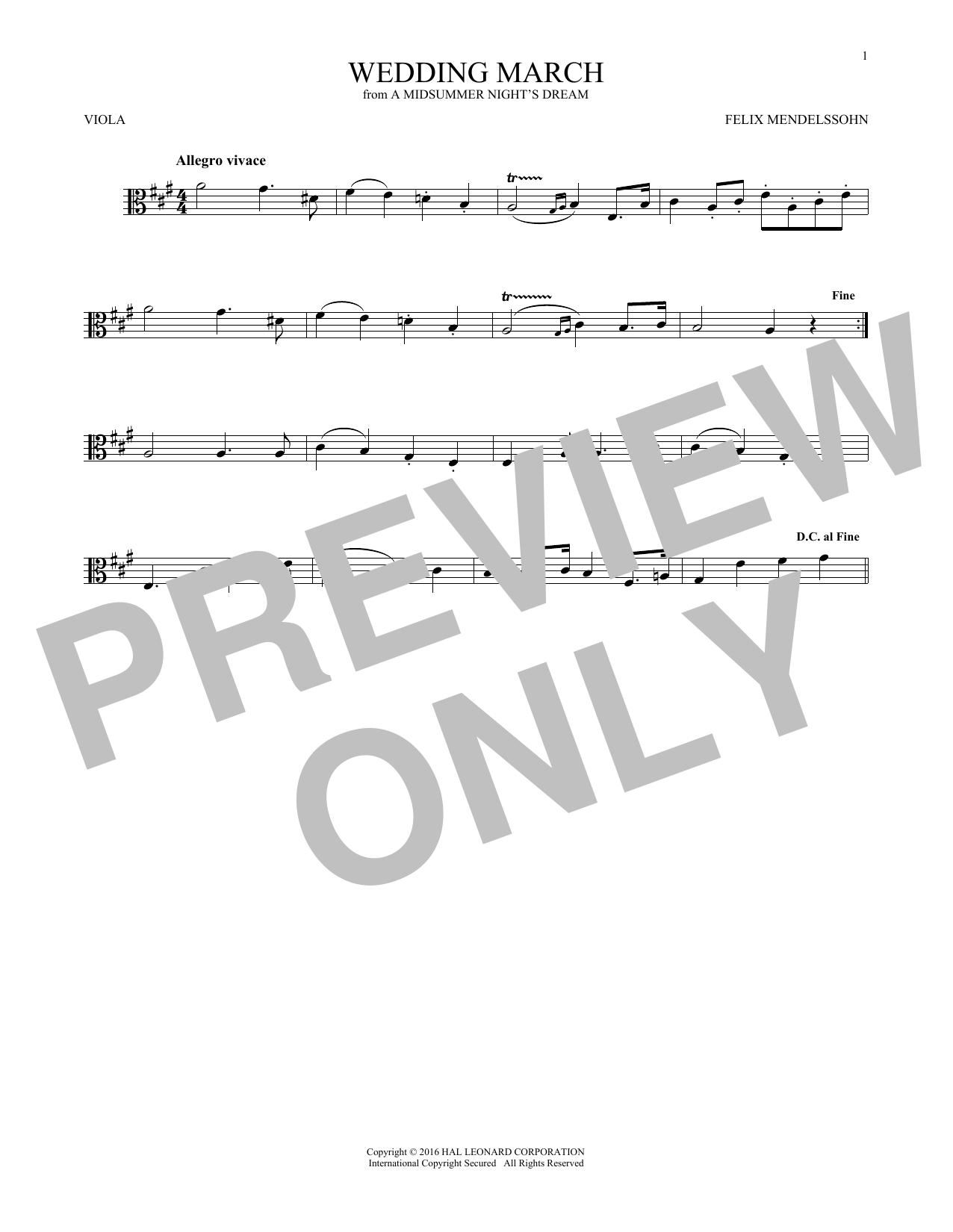 Wedding March (Viola Solo)