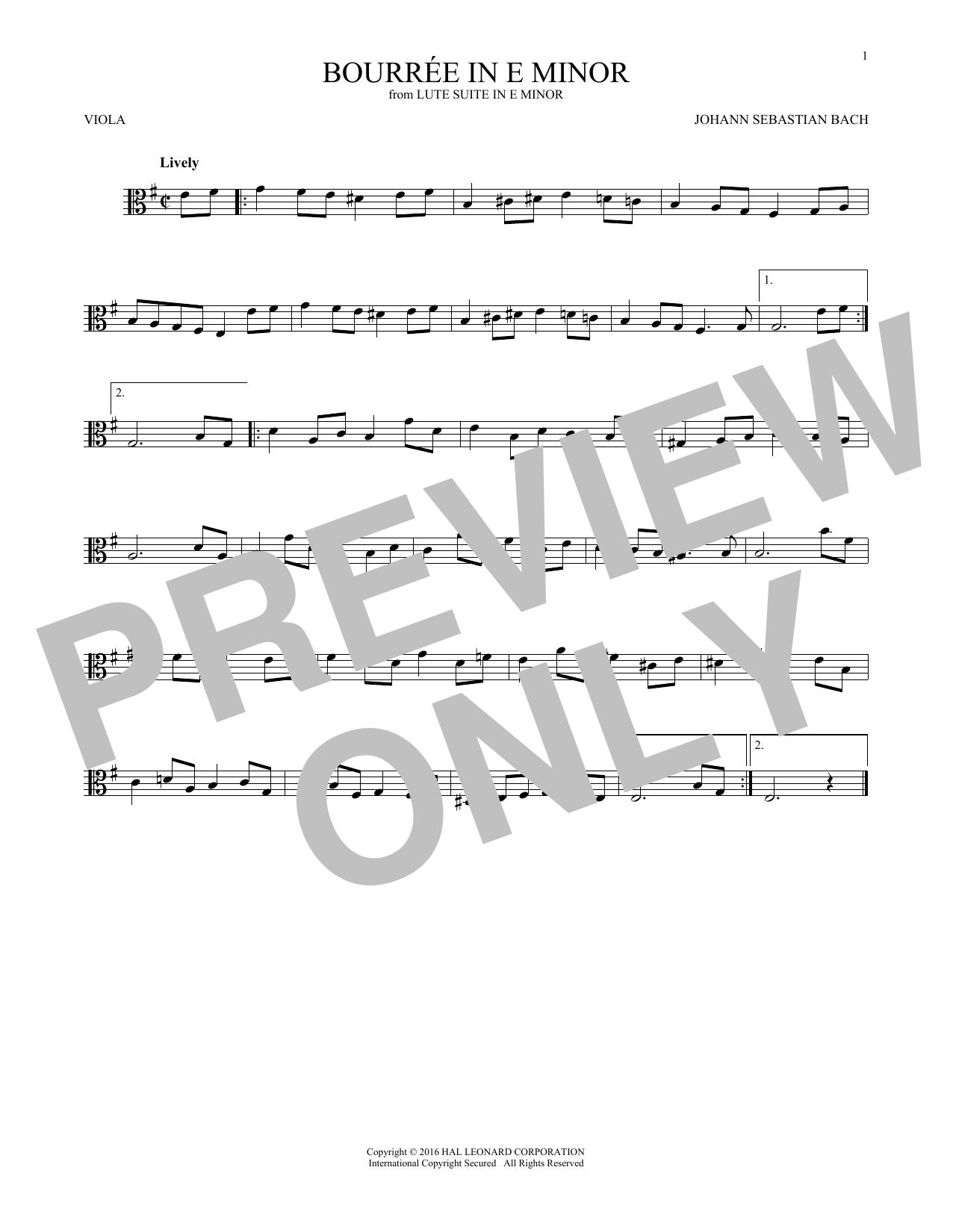 Bourree In E Minor (Viola Solo)