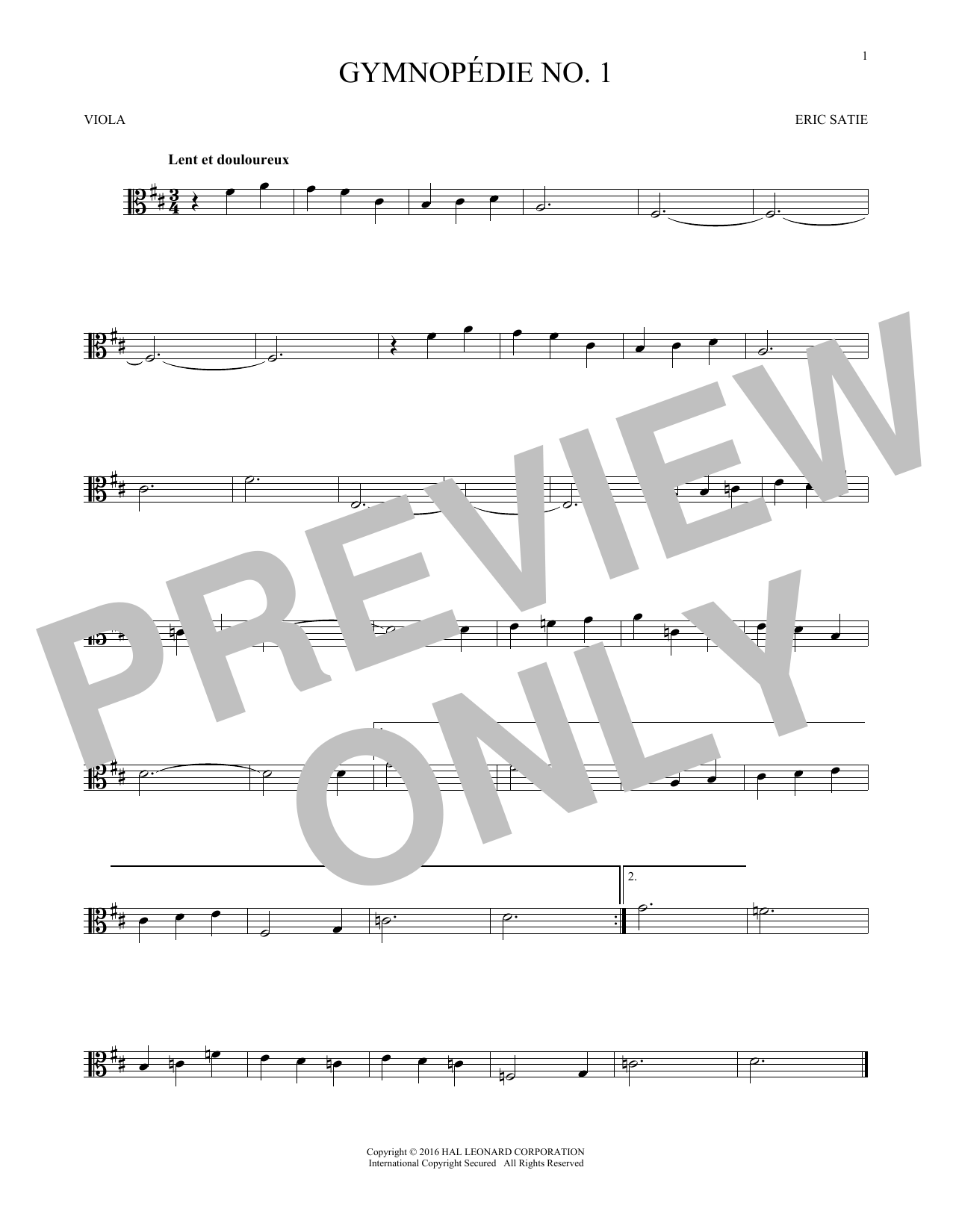 Gymnopedie No. 1 (Viola Solo)
