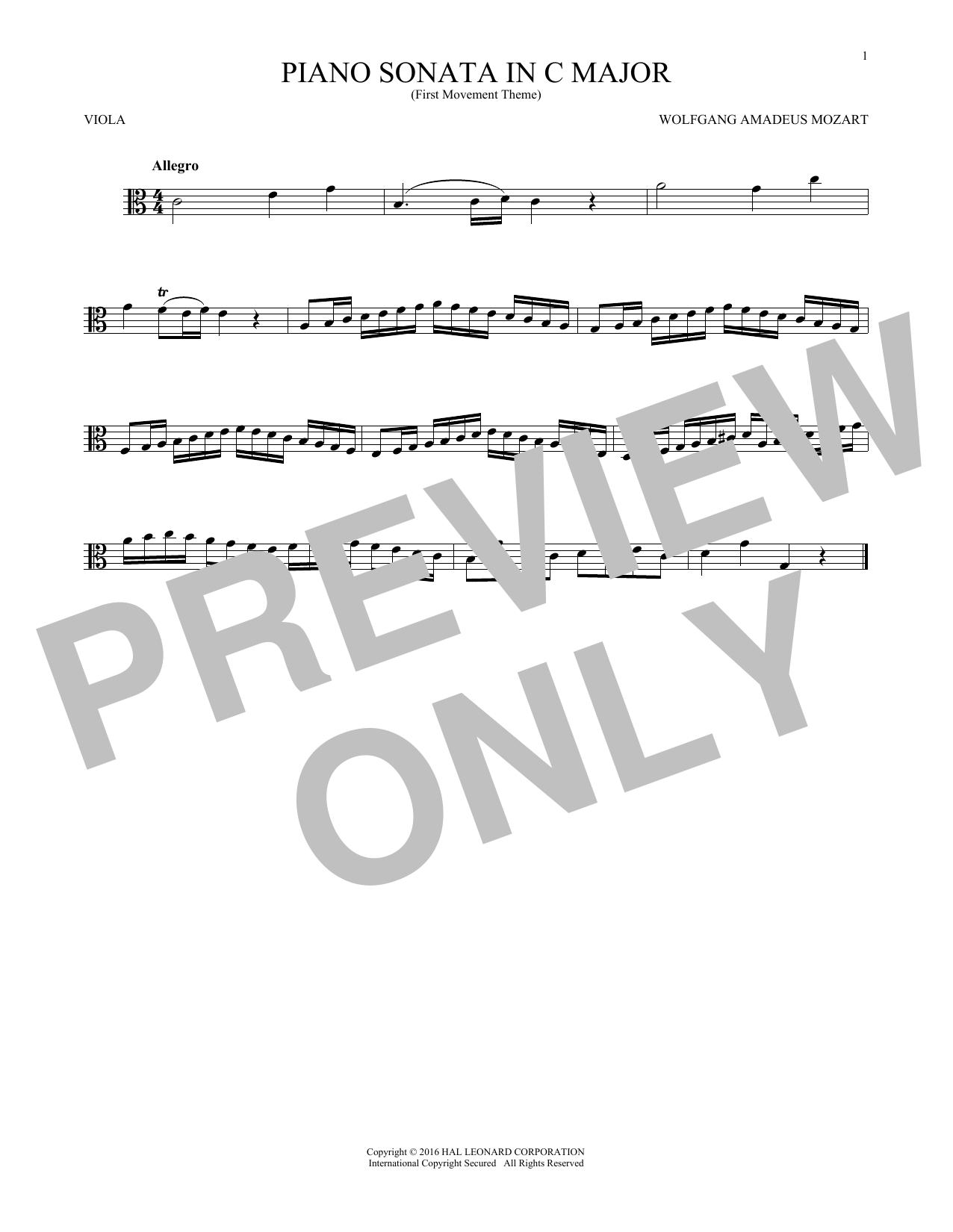 Piano Sonata In C Major (Viola Solo)
