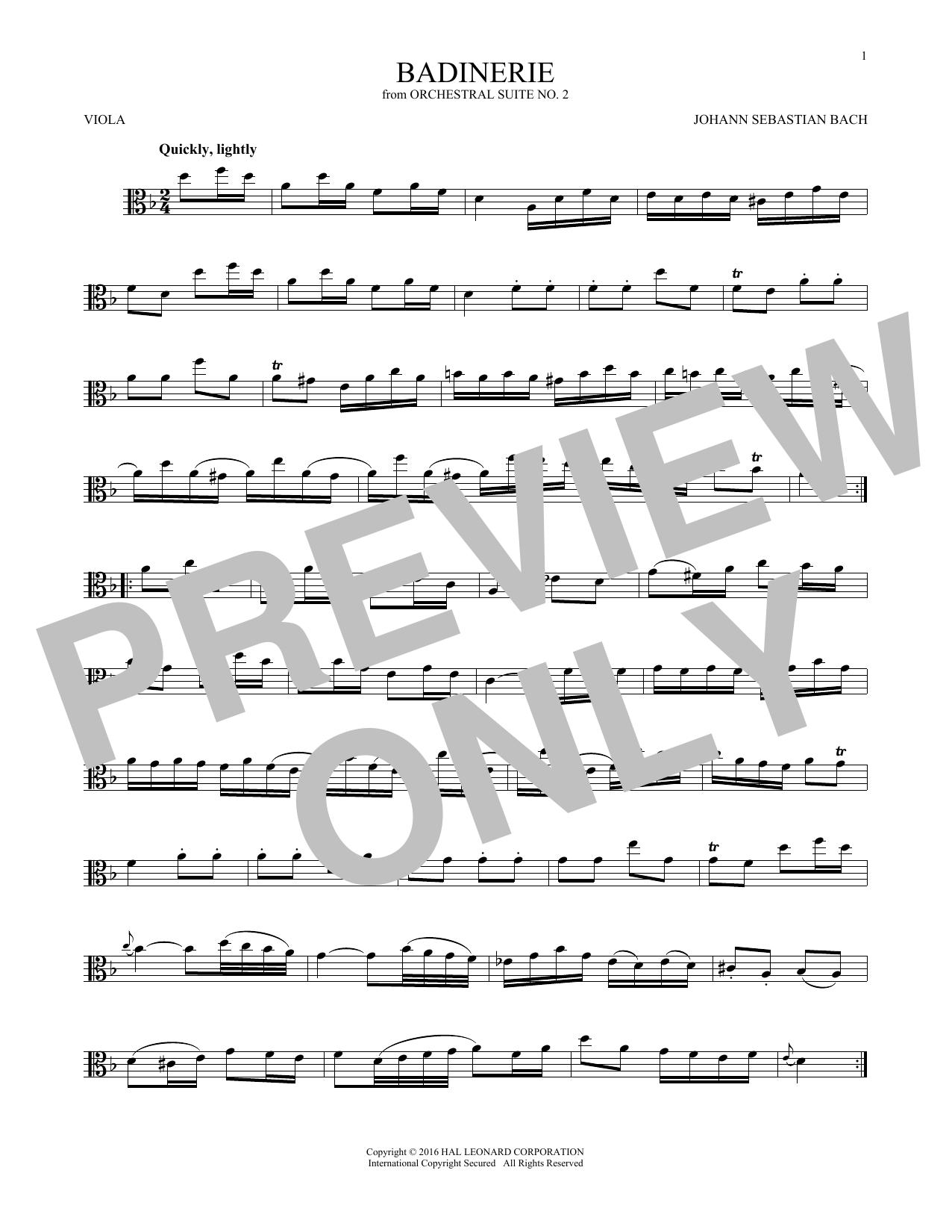 Badinerie (Suite No. 2) (Viola Solo)