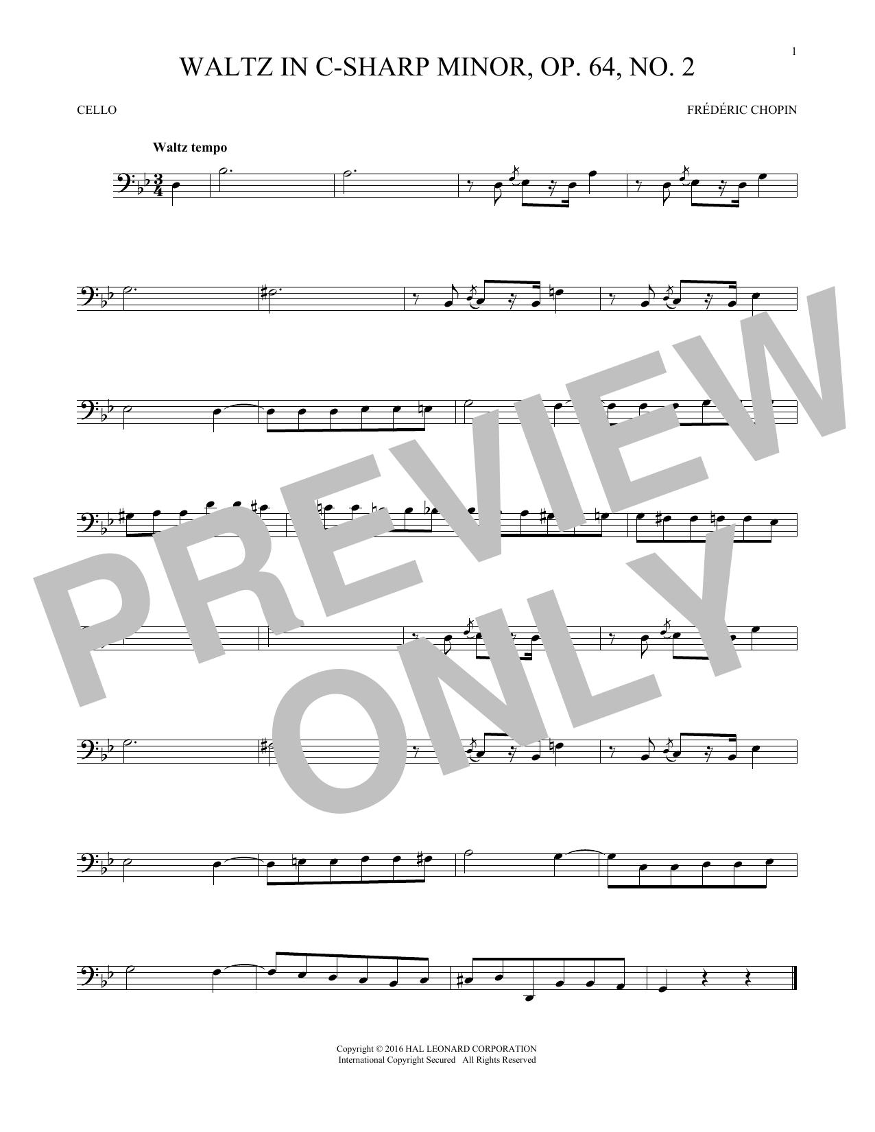 Waltz In C-Sharp Minor, Op. 64, No. 2 (Cello Solo)