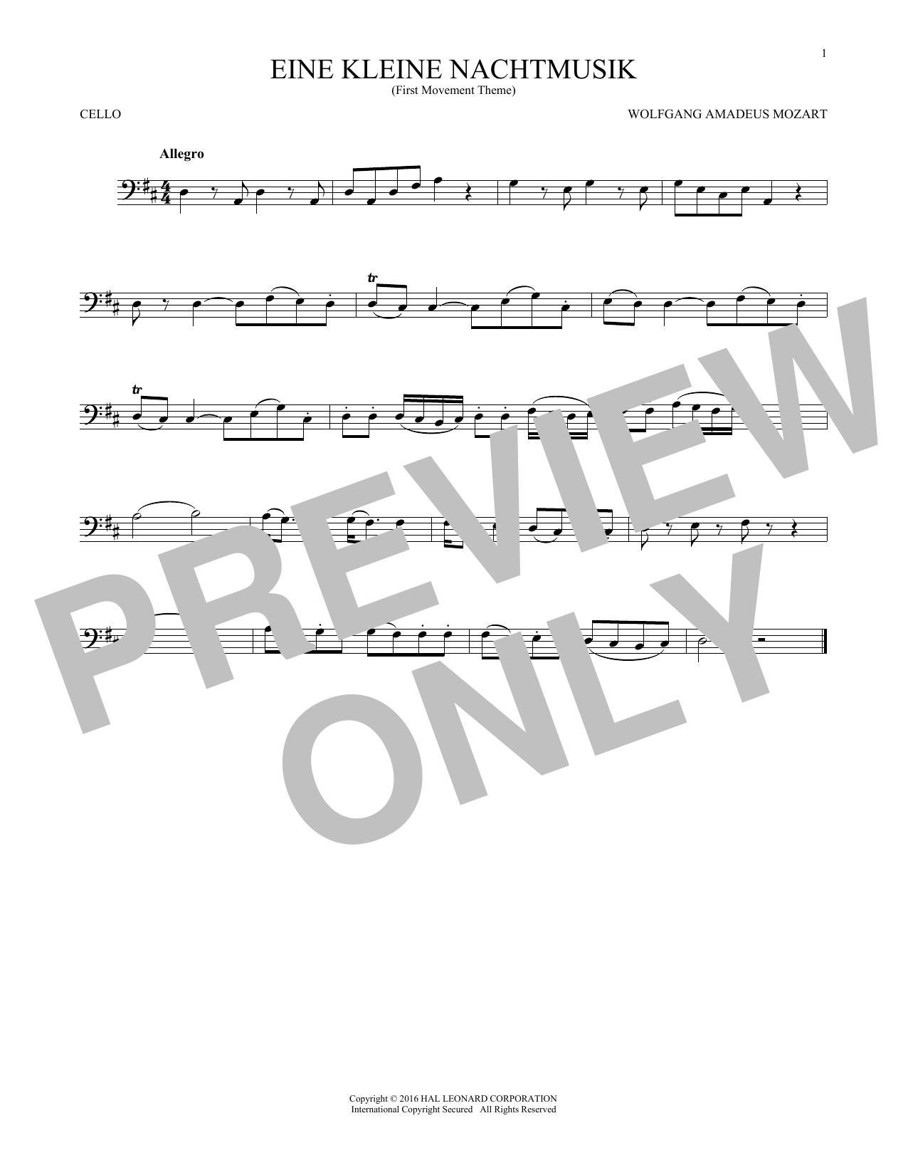 """Eine Kleine Nachtmusik (""""Serenade""""), First Movement Excerpt (Cello Solo)"""