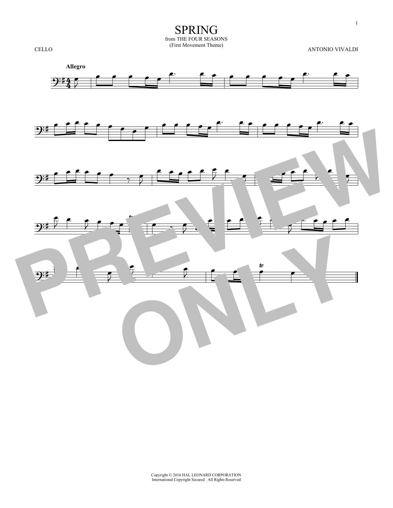 """Allegro I, RV 269 (""""Spring"""") (First Movement Theme) (Cello Solo)"""