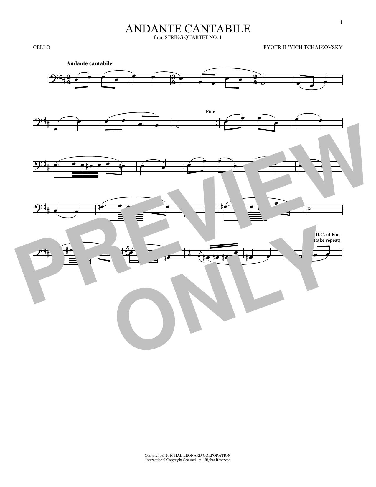 Andante Cantabile (Cello Solo)