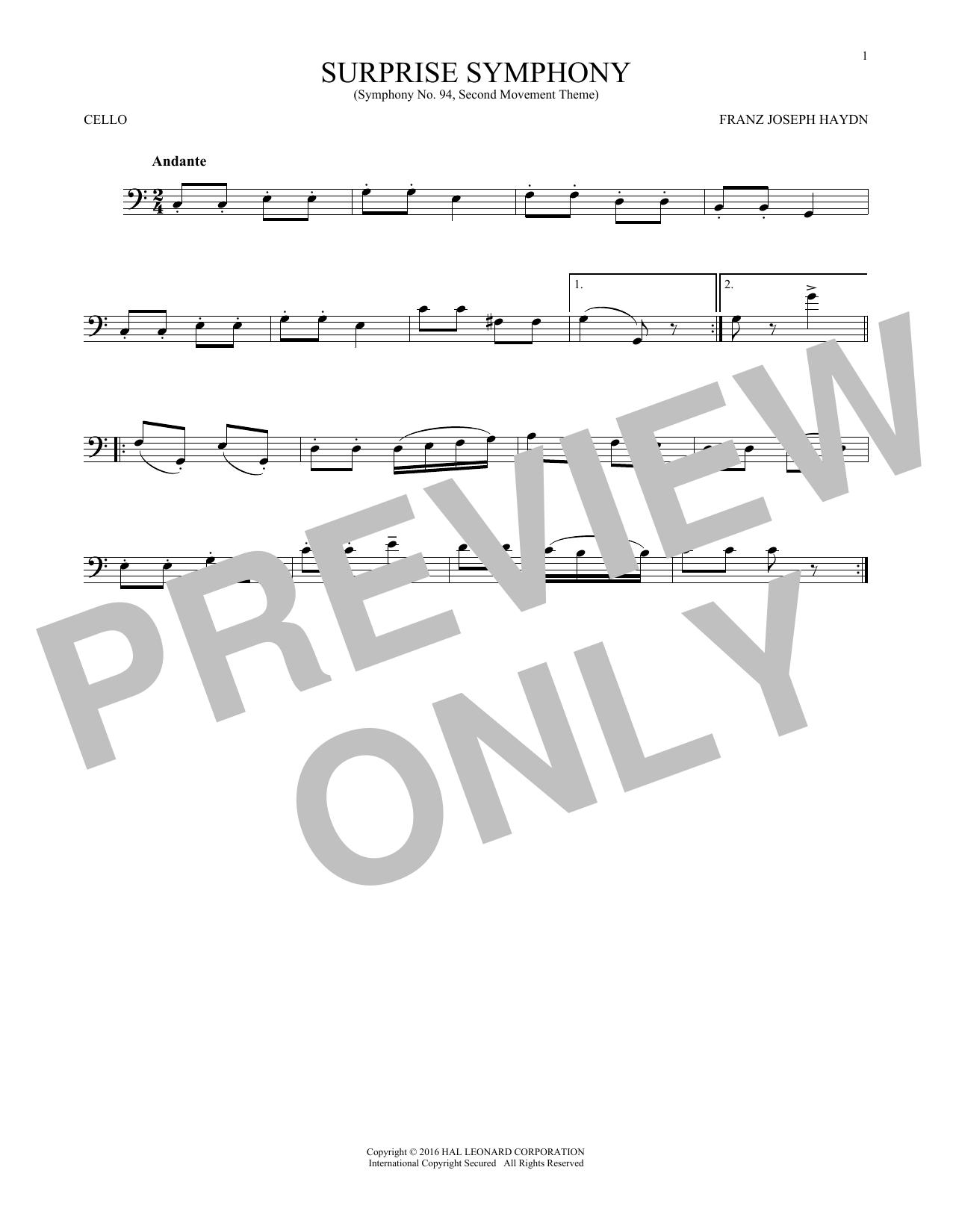 The Surprise Symphony (Cello Solo)
