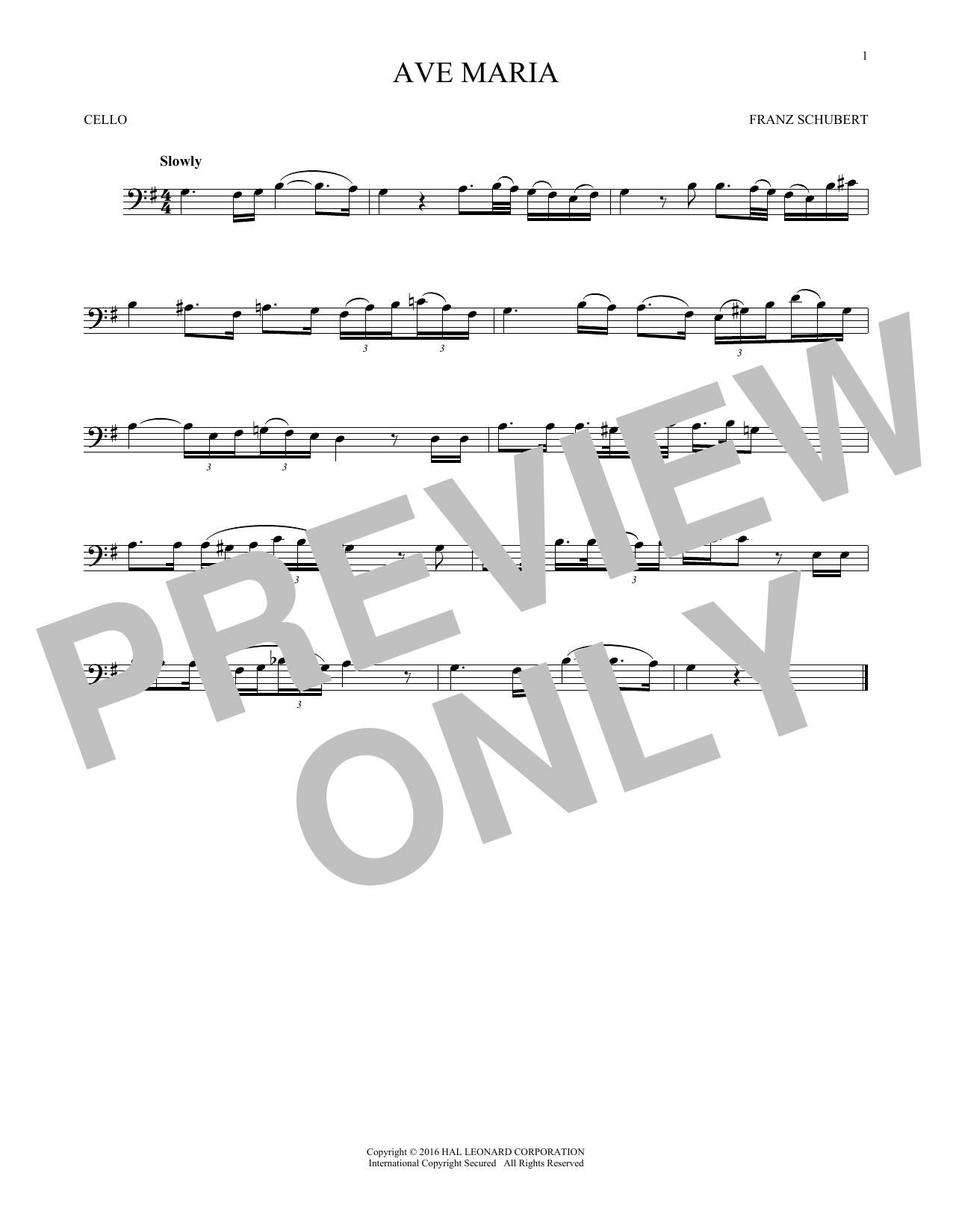 Ave Maria, Op. 52, No. 6 (Cello Solo)