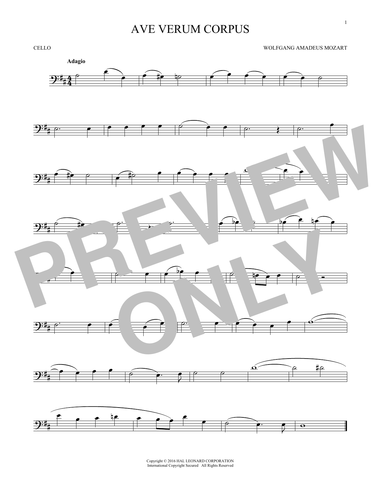 Ave Verum (Jesu, Word Of God Incarnate) (Cello Solo)