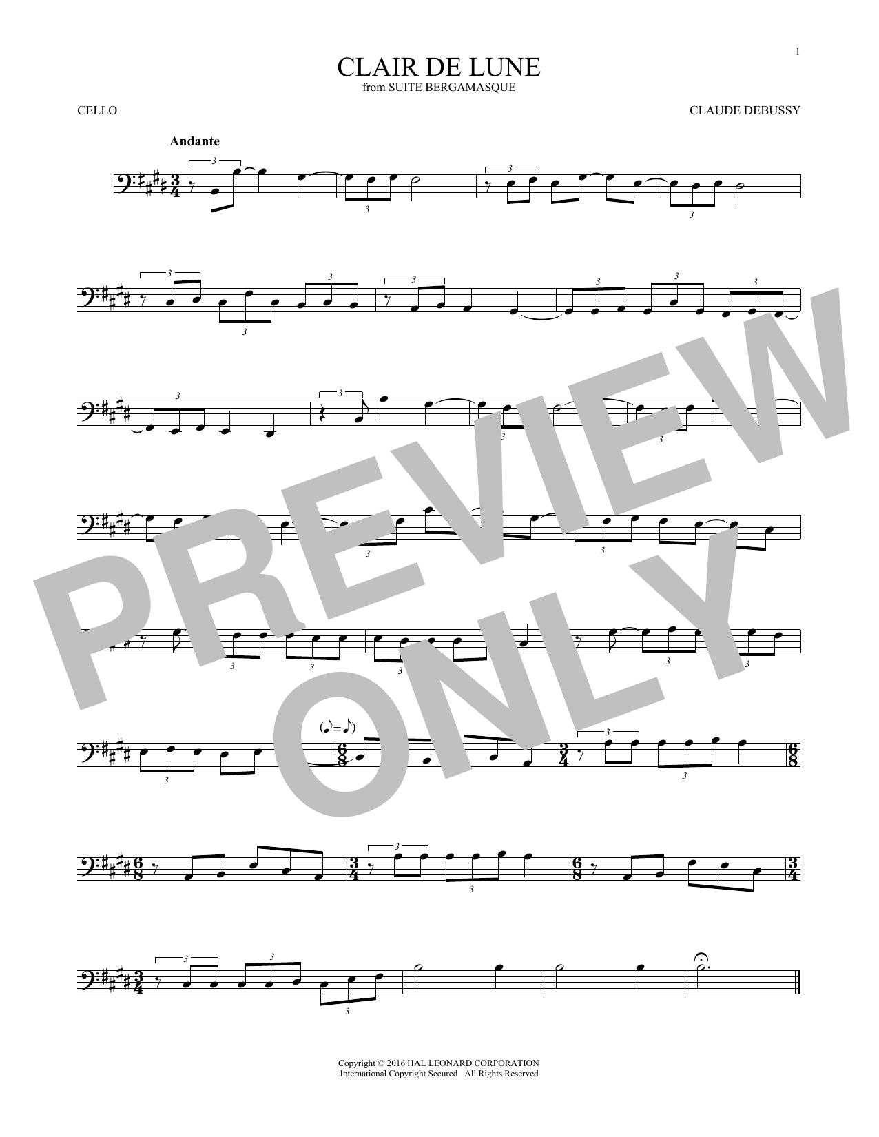 Clair De Lune (Cello Solo)